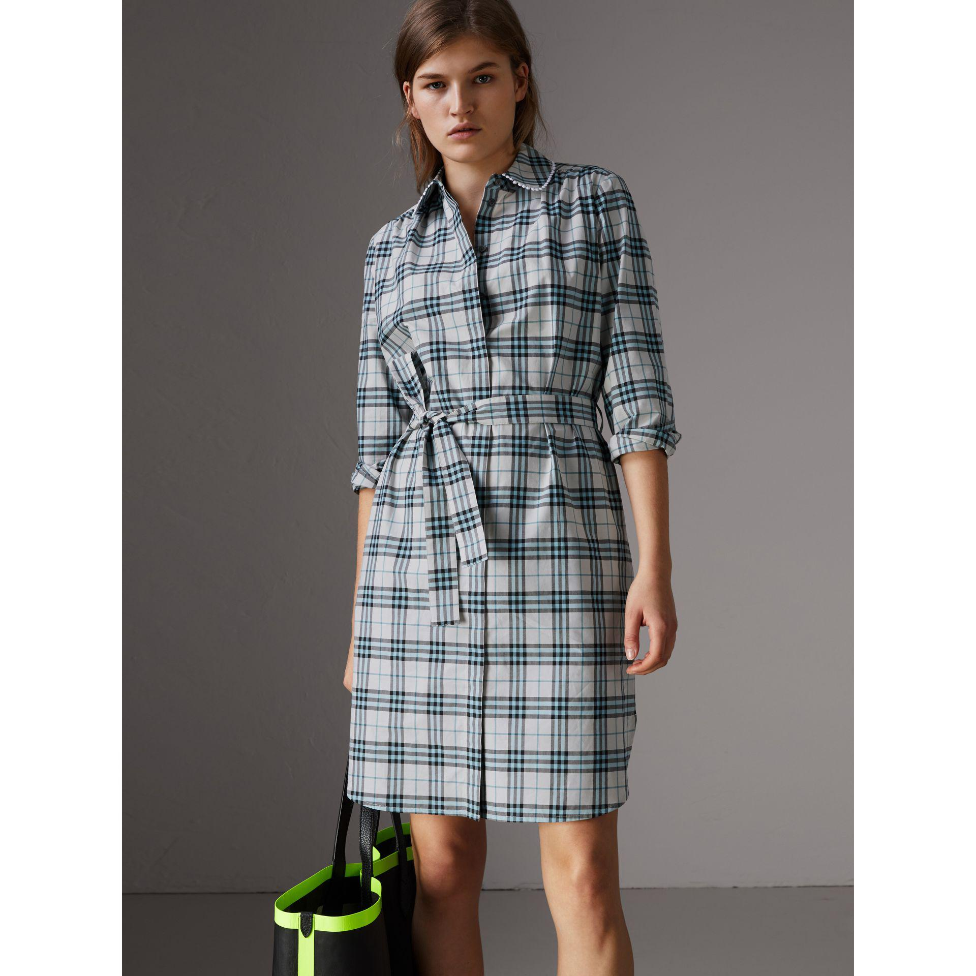 Lyst Burberry Lace Trim Collar Check Cotton Shirt Dress