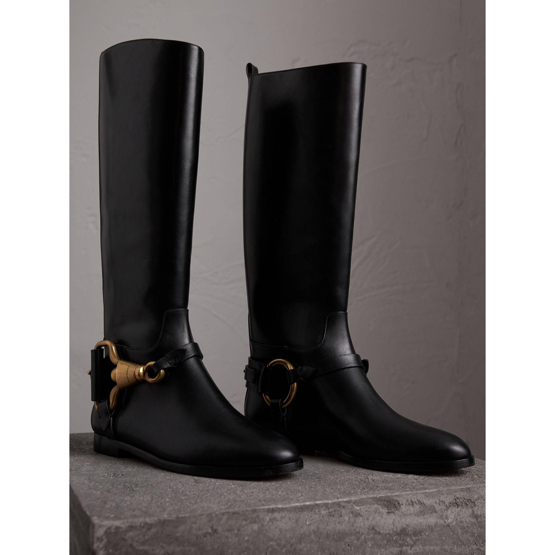 Burberry Equestrian Detail Leather