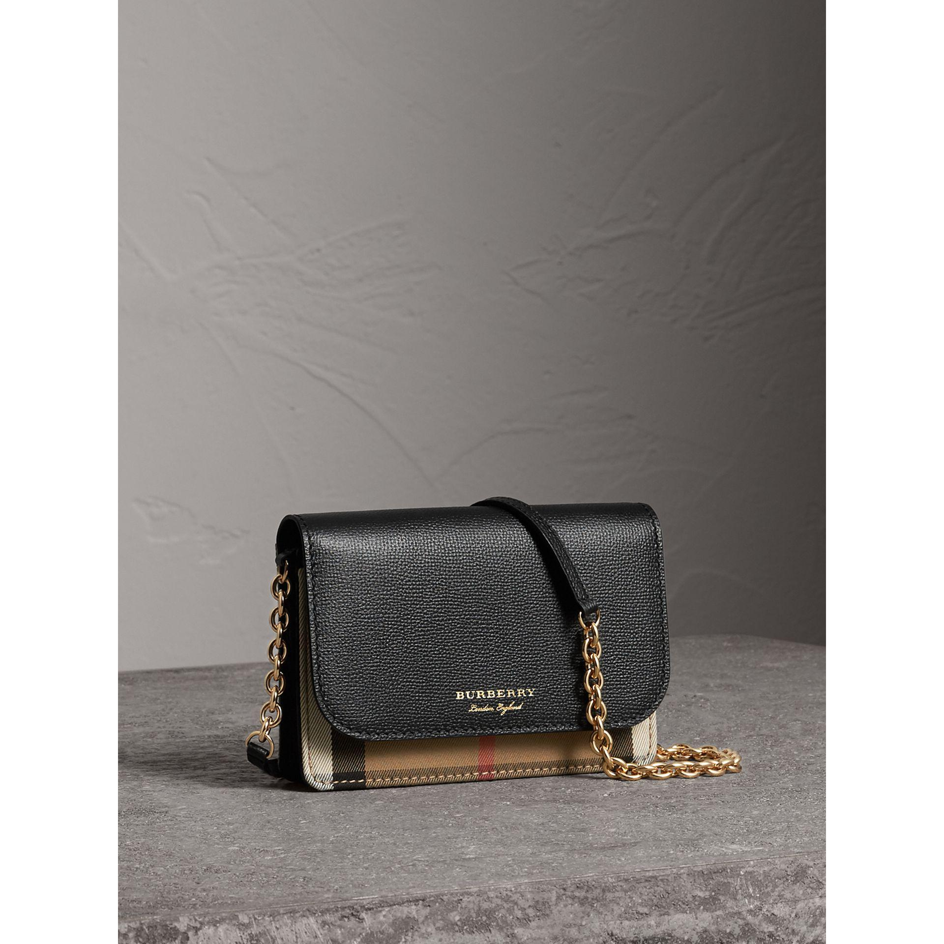f814ddc2263c Lyst - Burberry Leather And House Check Wallet With Detachable Strap ...