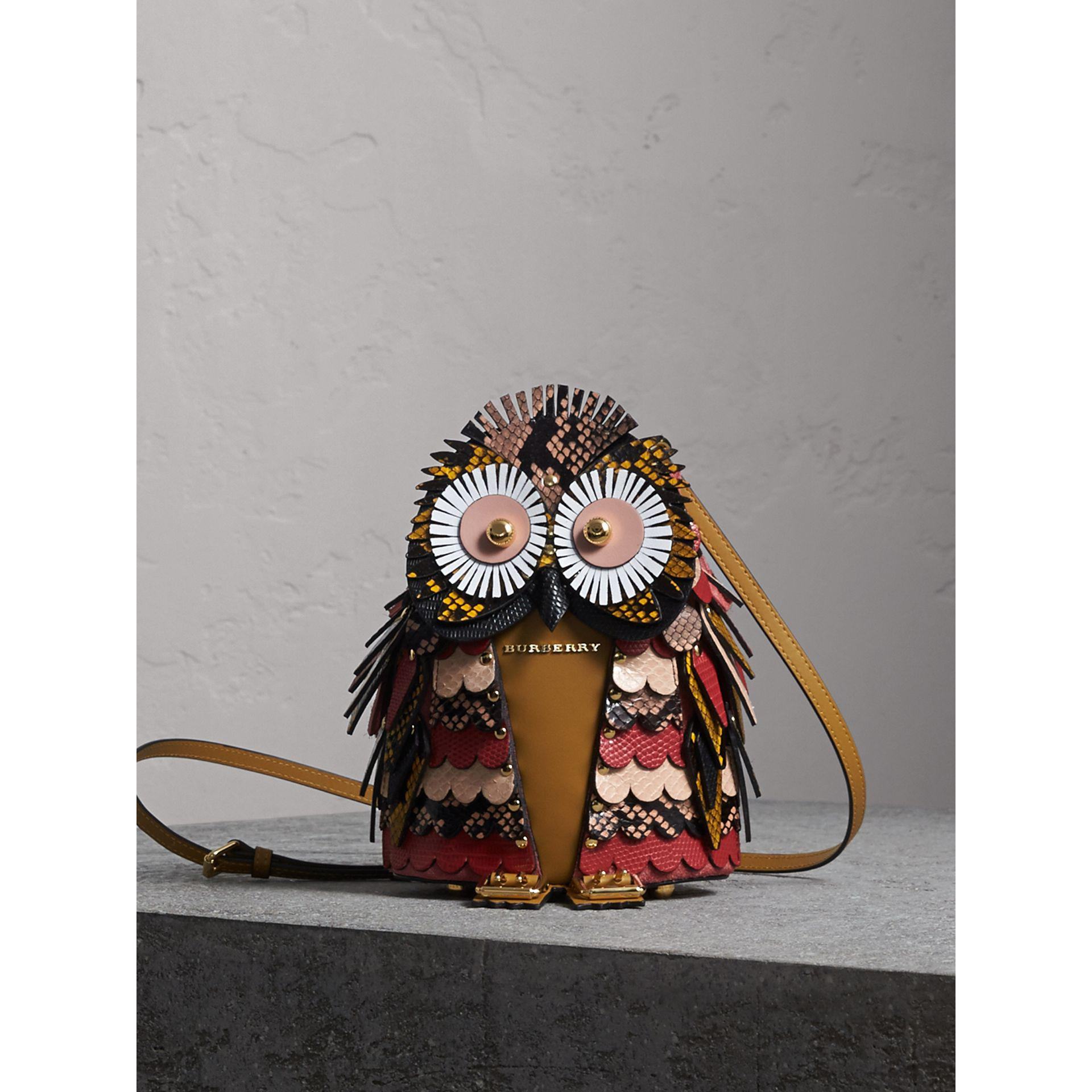 The Owl Calf Suede And Snakeskin Crossbody Bag