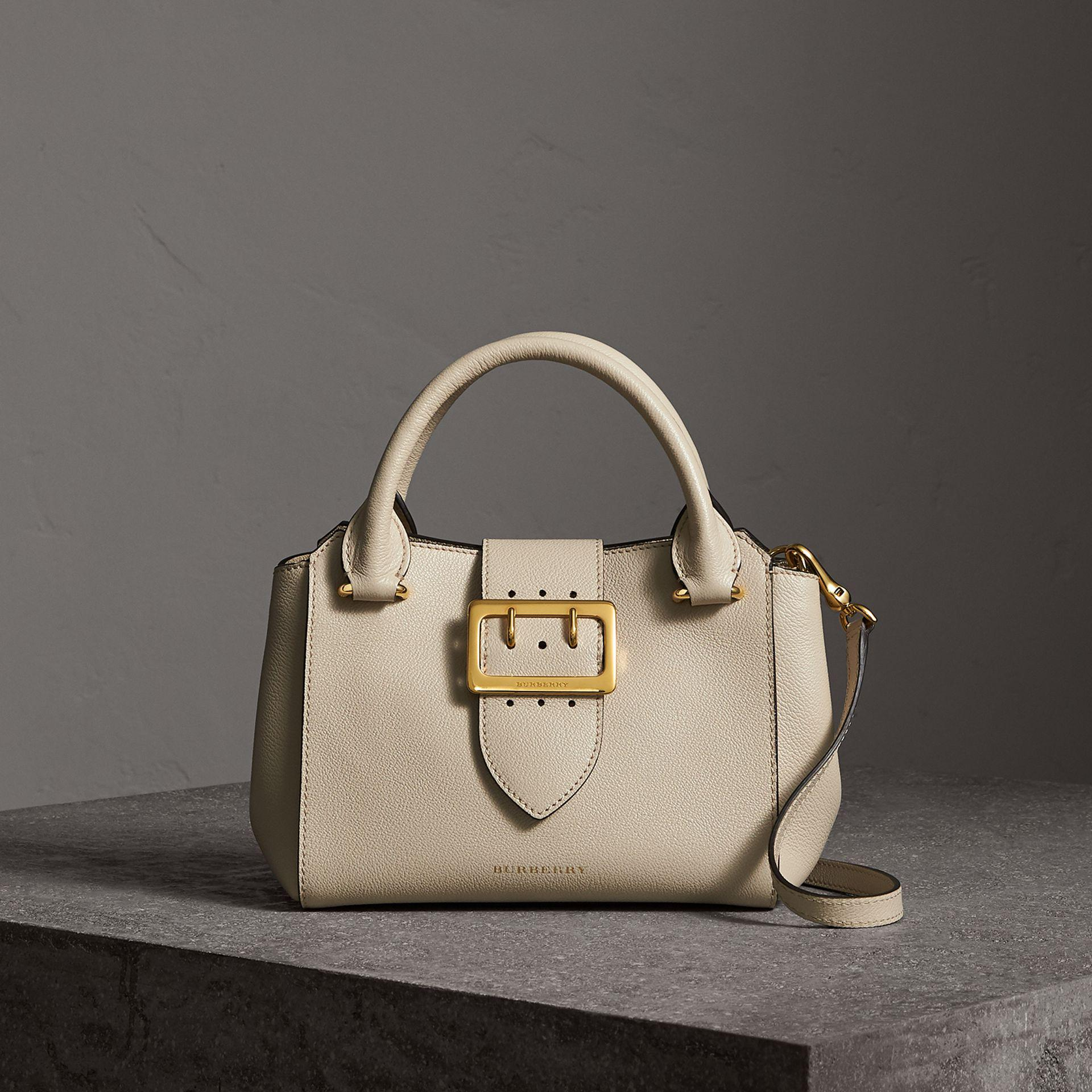 5e5cc36d0267 Burberry The Small Buckle Tote In Grainy Leather Limestone in ...