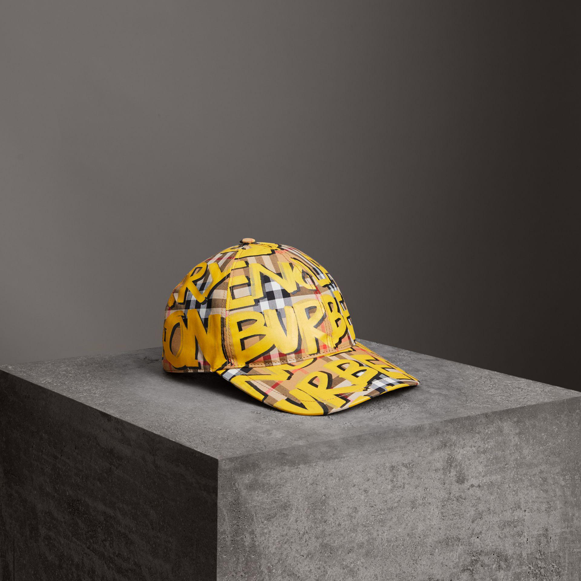 Lyst burberry graffiti print vintage check baseball cap in yellow jpg  1920x1920 Visor vintage man cool bed7a3ea71b9