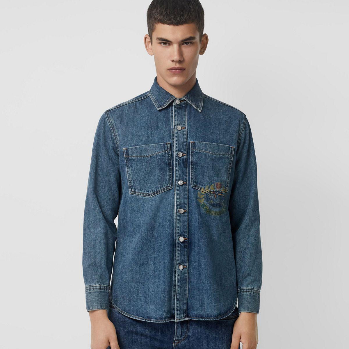 8cc3a95584 Lyst - Burberry Crest Print Denim Overshirt in Blue for Men