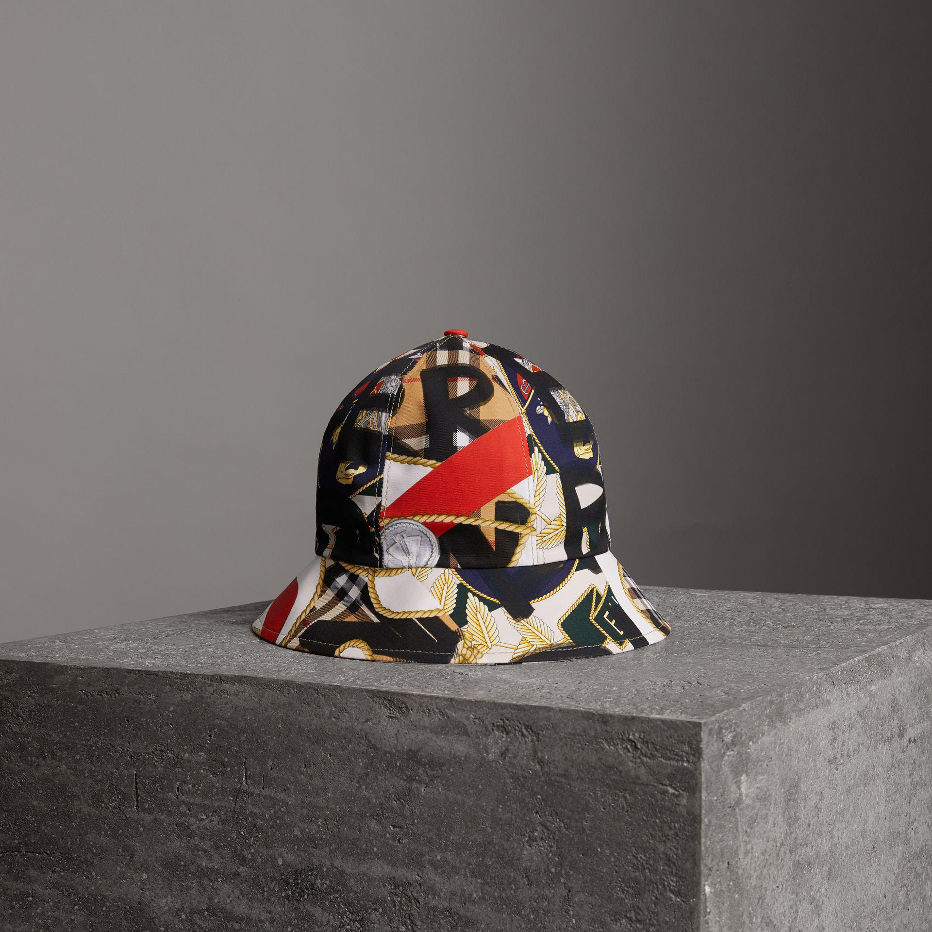 318001b7cfa ... new zealand burberry. womens graffiti scarf print bucket hat 58a89 b043f