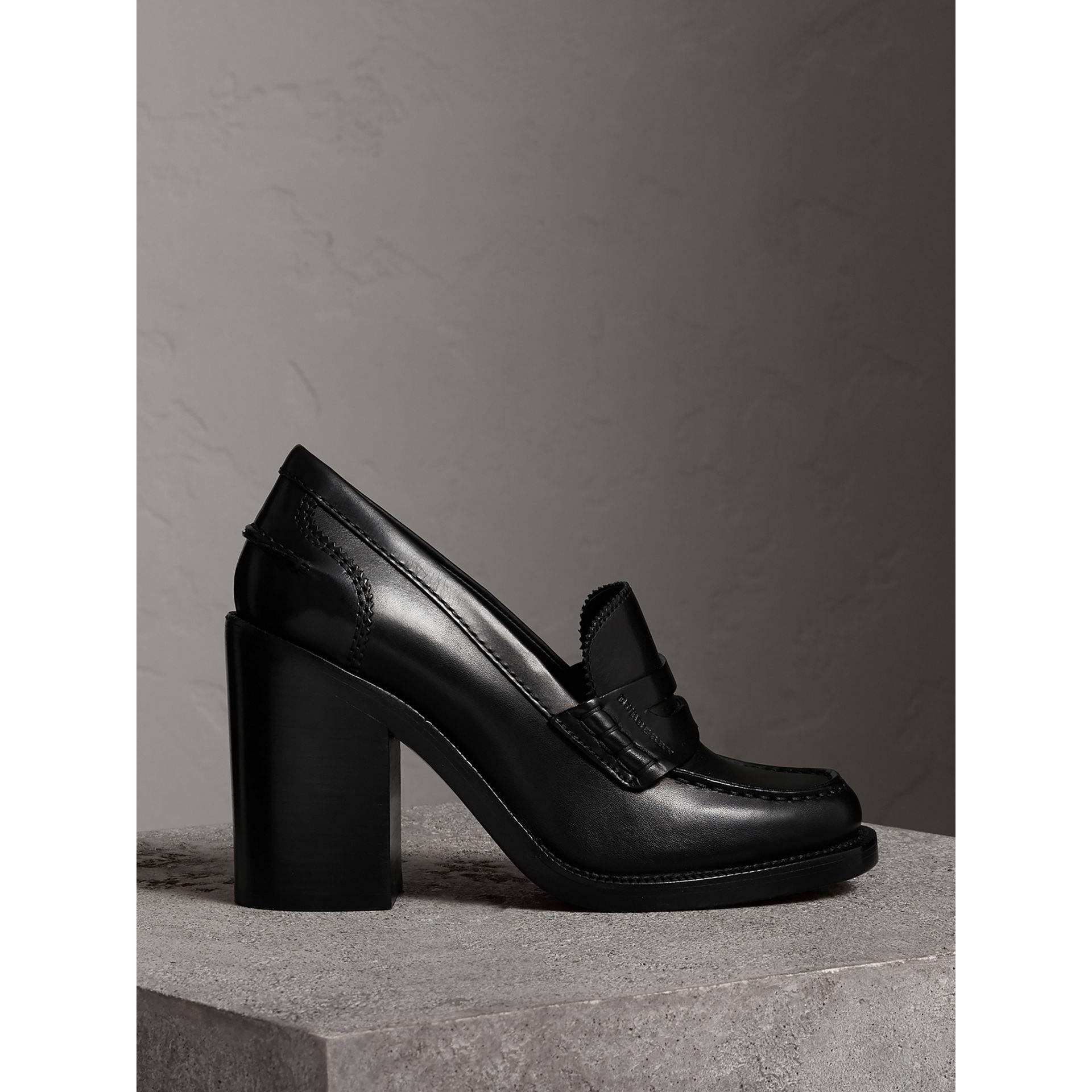 Burberry Leather Block-heel Penny Loafers in Black - Lyst