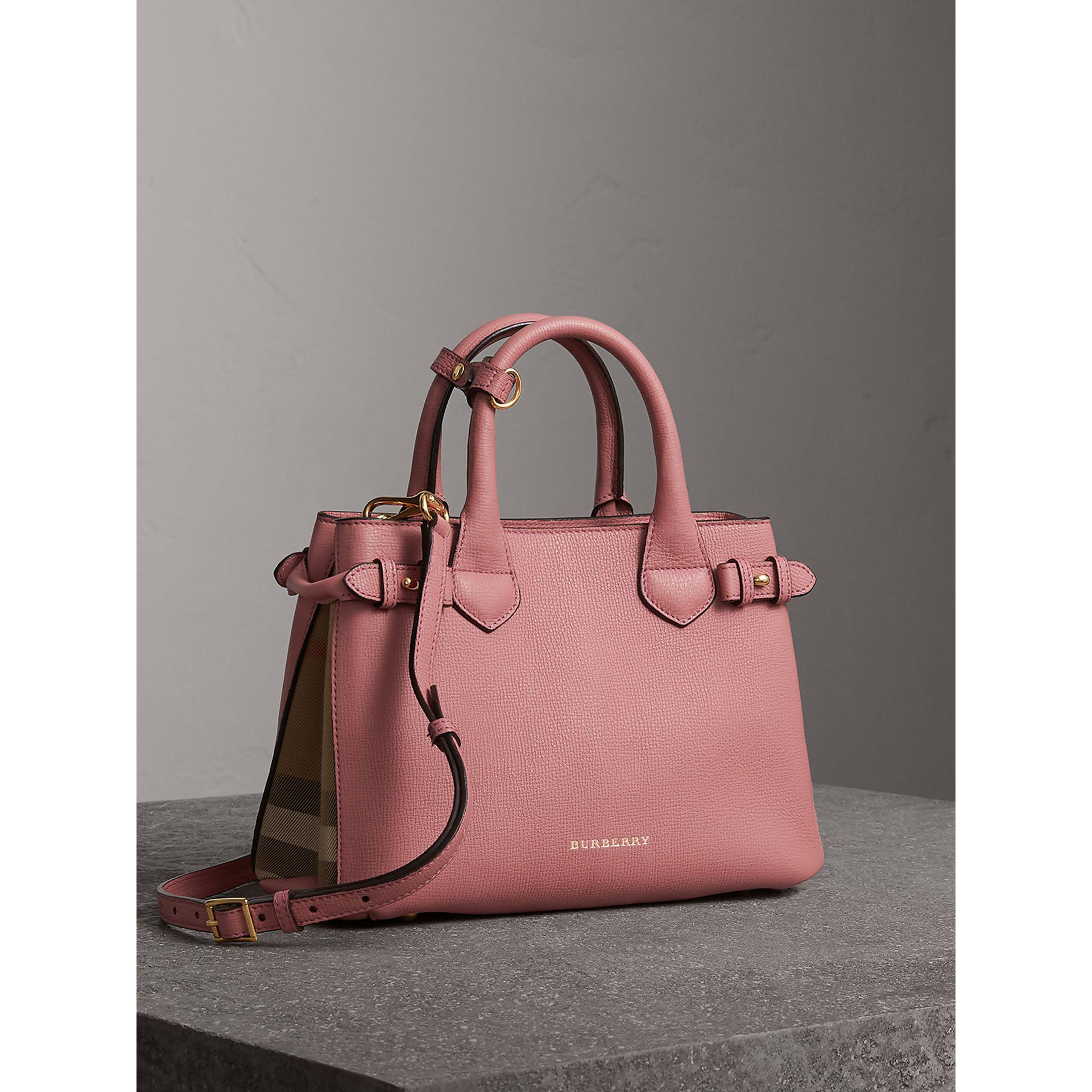 86425dc7b2bc Lyst - Burberry The Small Banner In Leather And House Check Mauve Pink