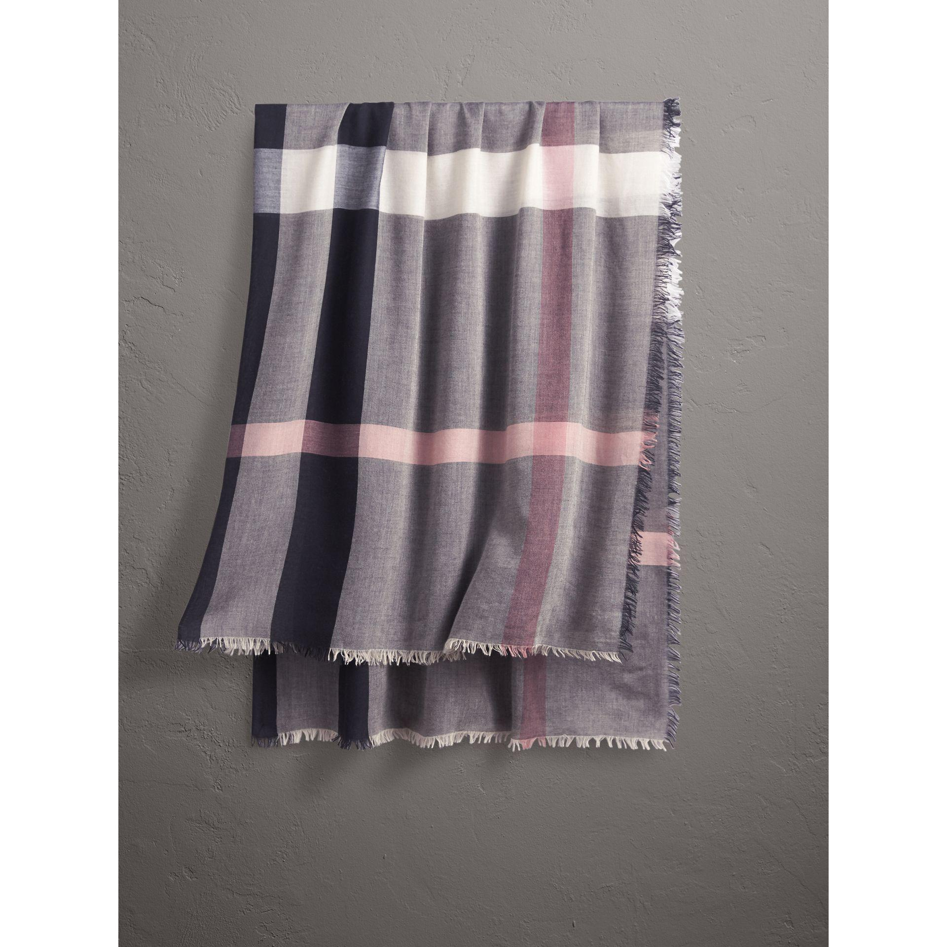 23167c170e6e Lyst - Burberry Check Modal And Wool Square Scarf Antique Rose