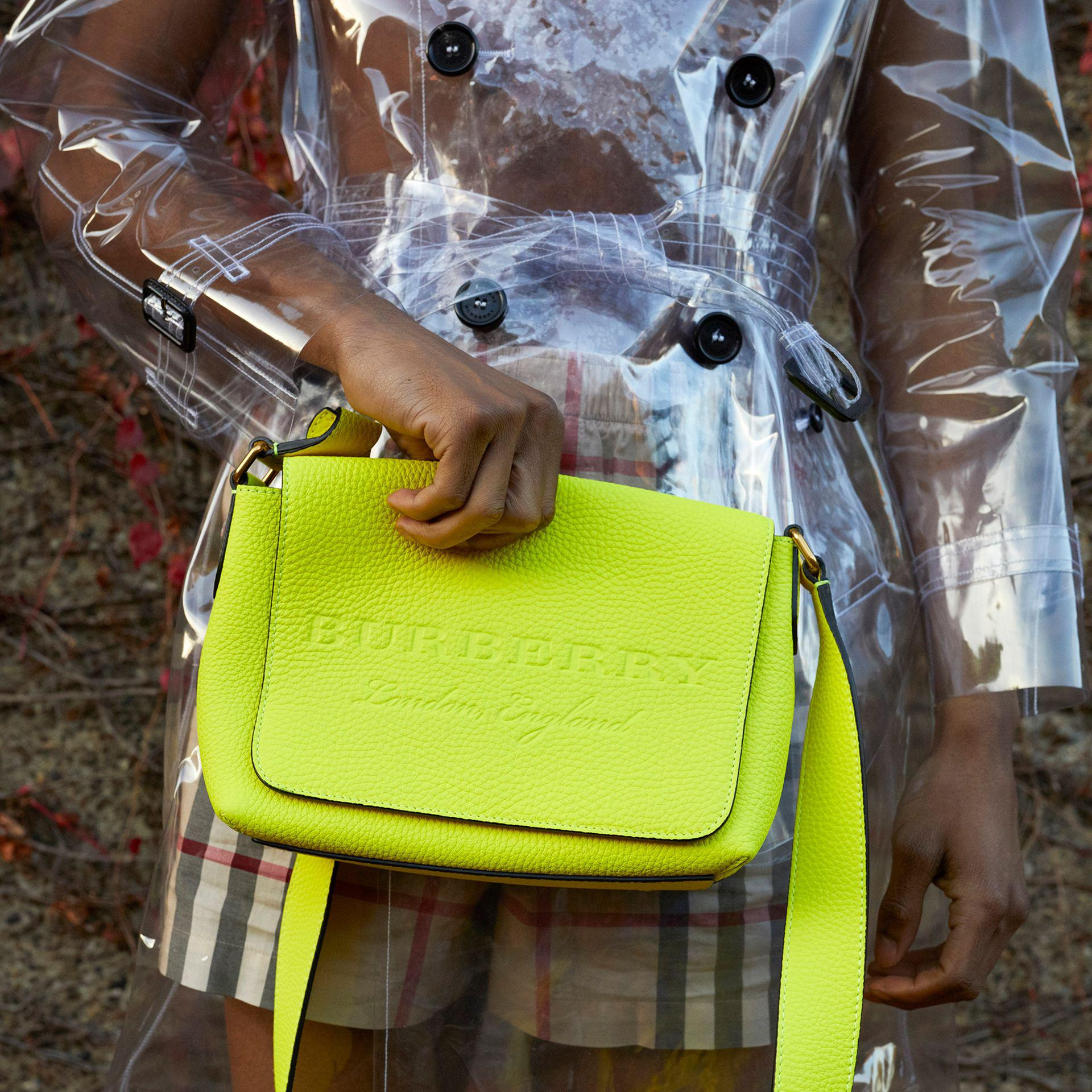 a1eb143e87ed Lyst - Burberry Small Embossed Neon Leather Messenger Bag in Yellow