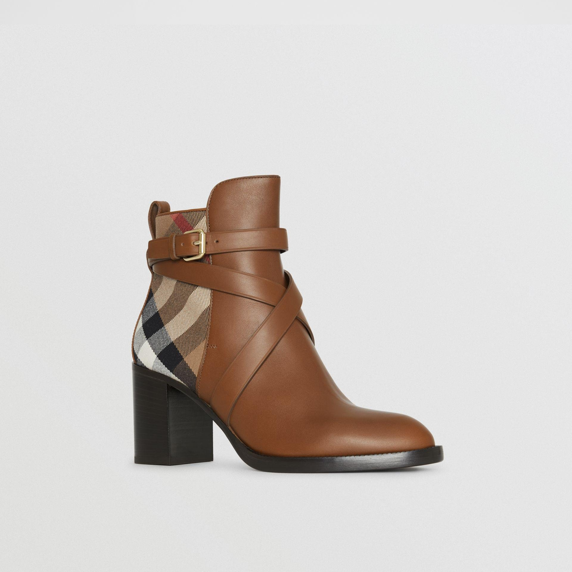5c70b7af747 Lyst - Burberry House Check And Leather Ankle Boots Bright Camel in ...