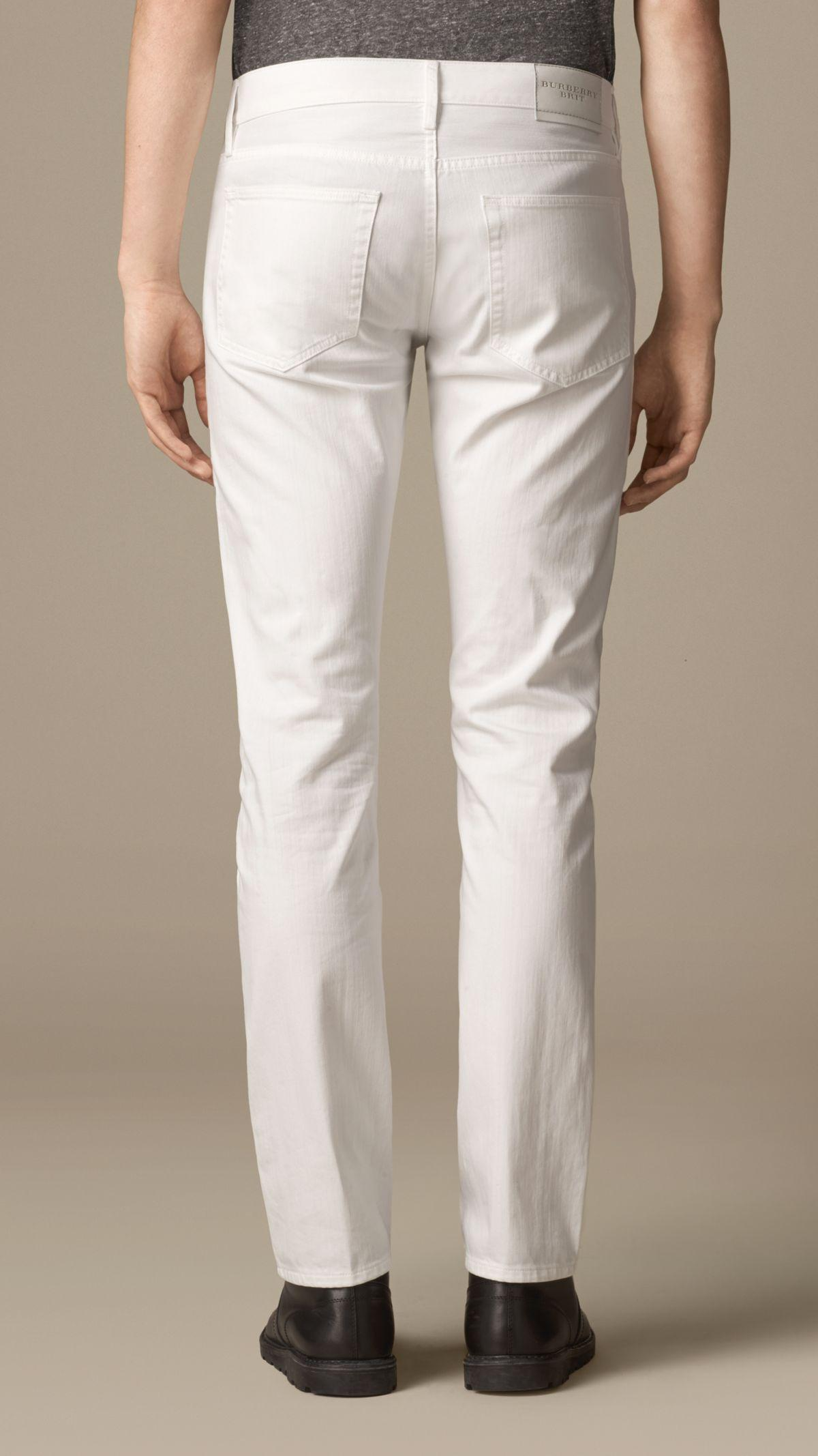Burberry Straight Fit White Jeans for Men