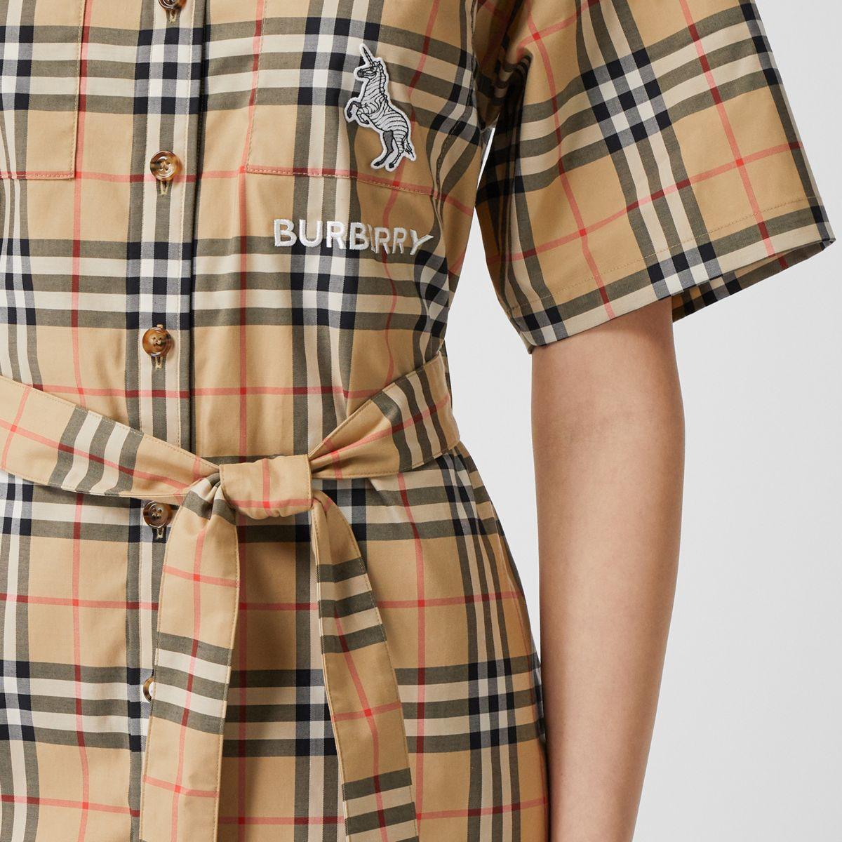 Burberry Zebra Applique Vintage Check Cotton Twill Shirt Dress Lyst