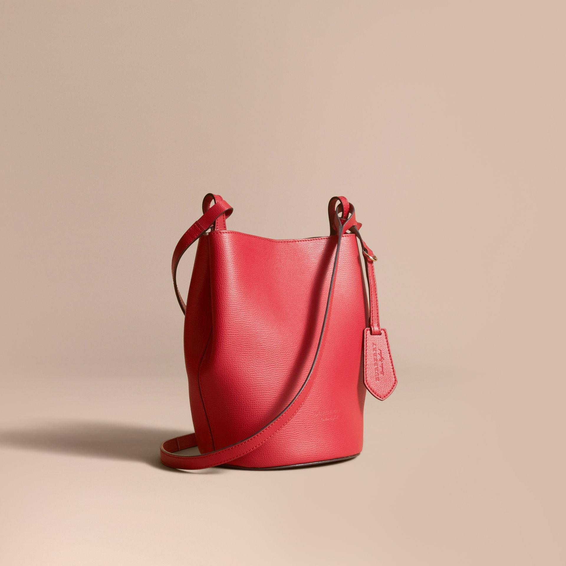 Lyst - Burberry Leather And Haymarket Check Bucket Crossbody Bag ... ef83419156daa