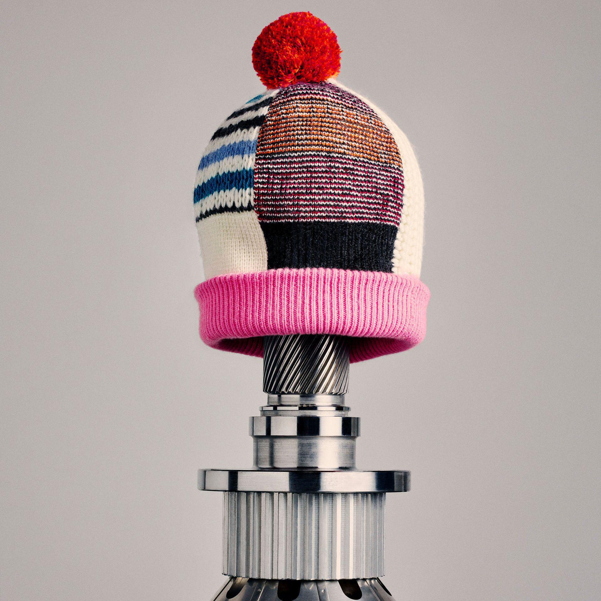 0e29e75ec Burberry Pink Pom-pom Wool Cashmere Patchwork Beanie