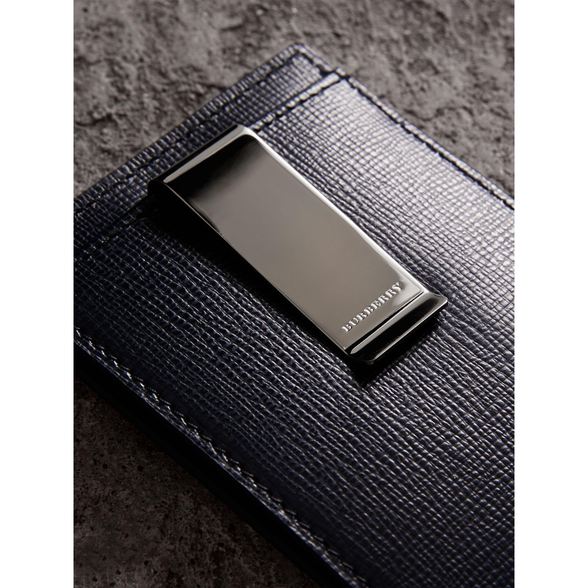 new styles 064b4 9c2bd Burberry Black London Leather Money Clip Card Case Dark Navy for men