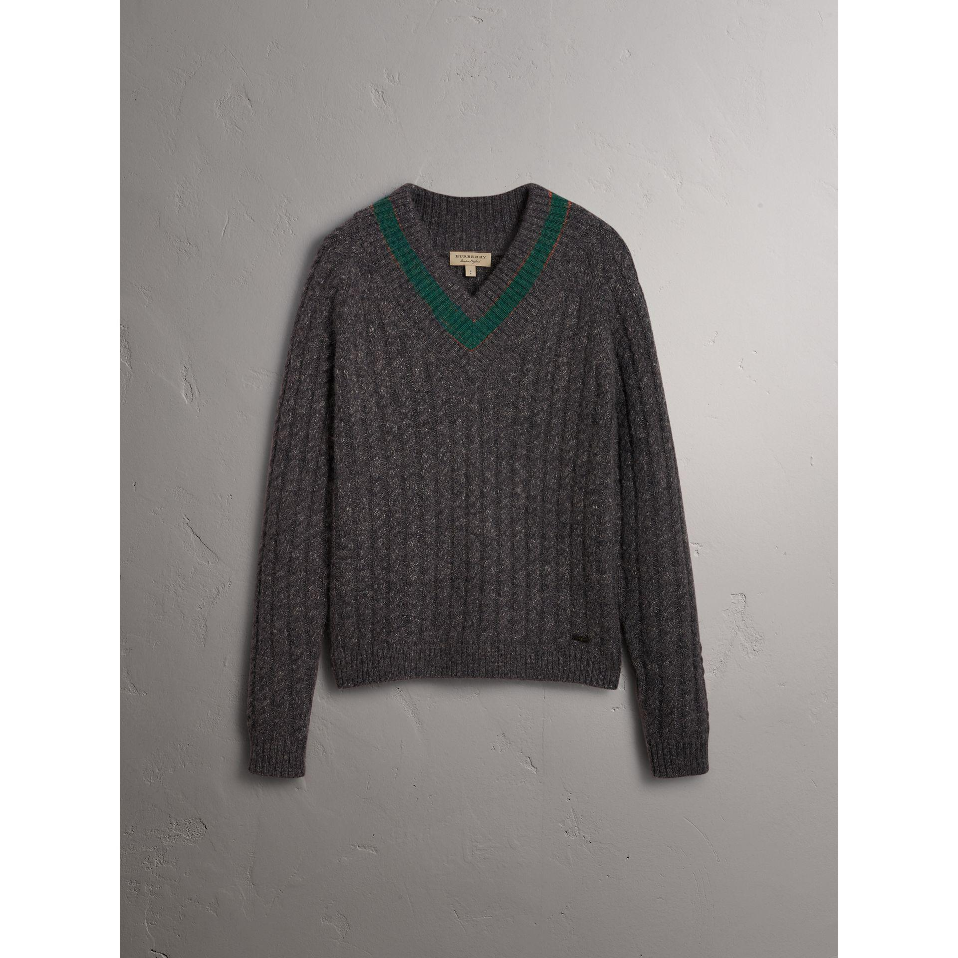 Burberry Cashmere Blend Cricket Sweater in Charcoal (Grey) for Men