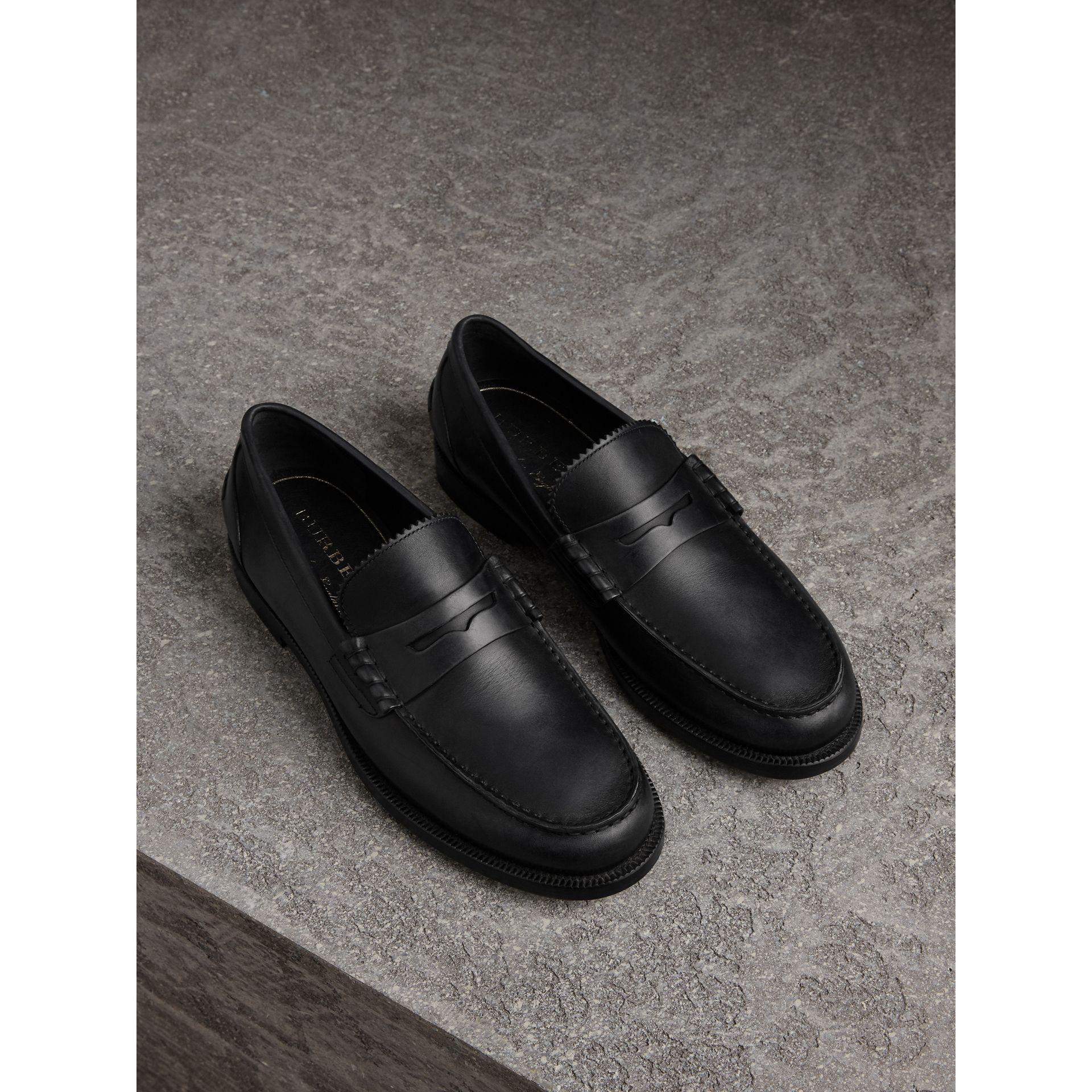 2c8cf3d7889 Burberry Leather Penny Loafers in Black for Men - Lyst