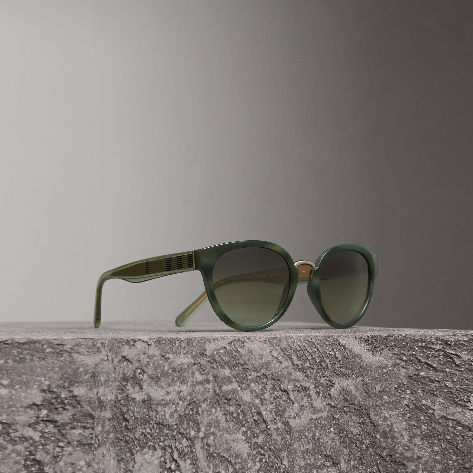 facc304257a6 Burberry Check Detail Cat-eye Frame Sunglasses In Dark Olive | in ...