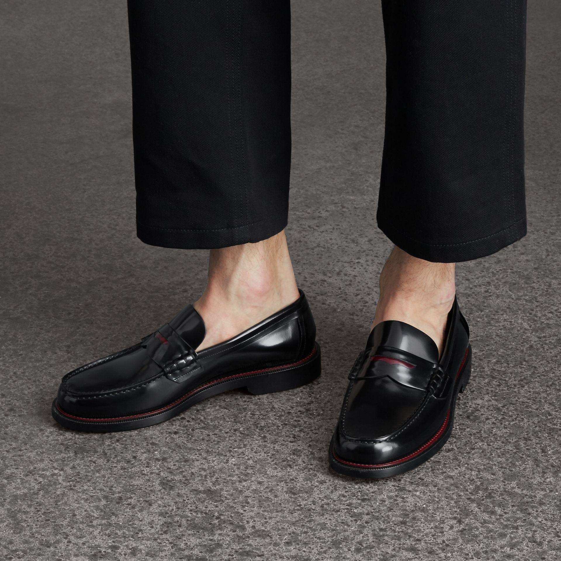 9d346d72b14 Lyst - Burberry Two-tone Leather Penny Loafers in Black for Men