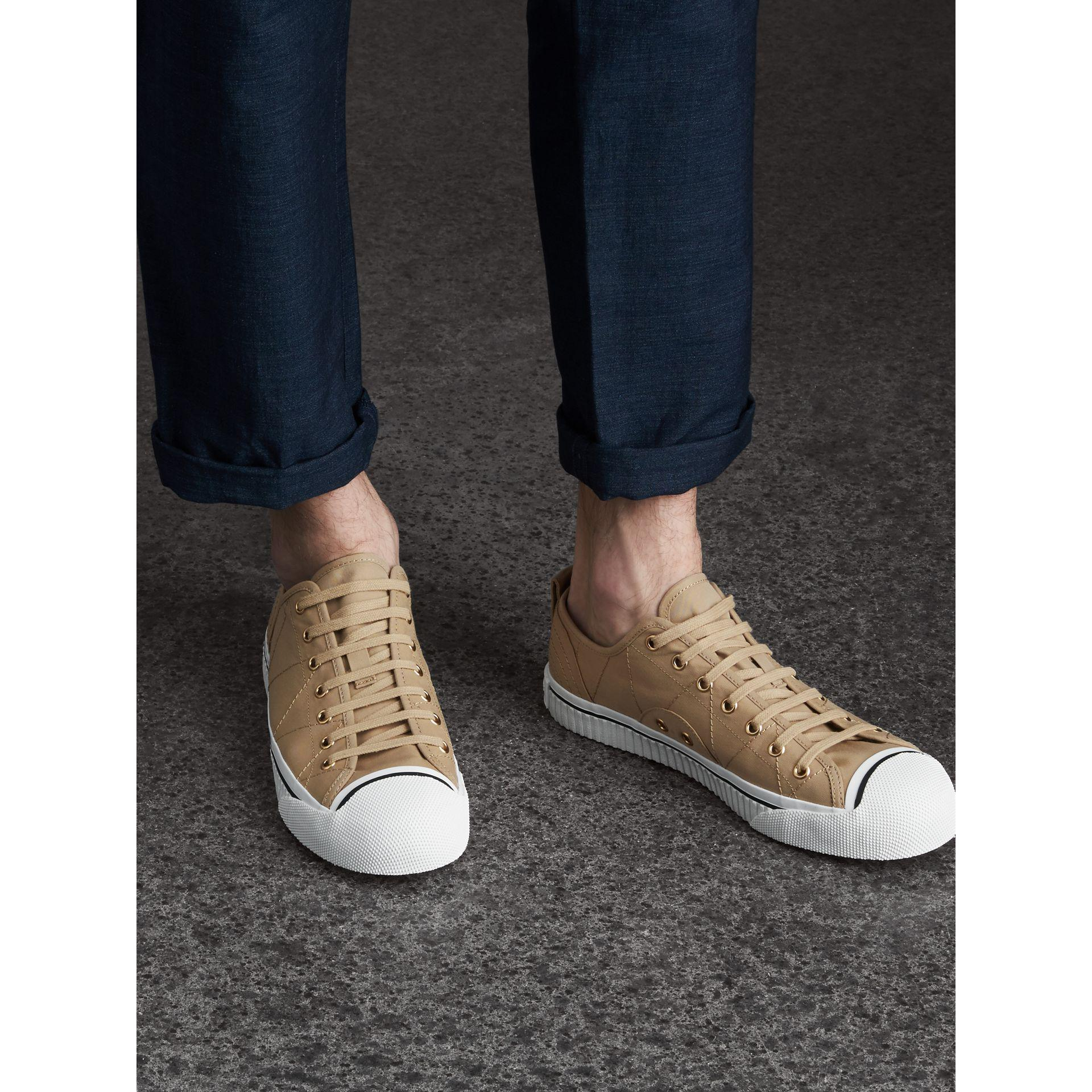 Burberry Topstitched Cotton Gabardine Trainers for Men