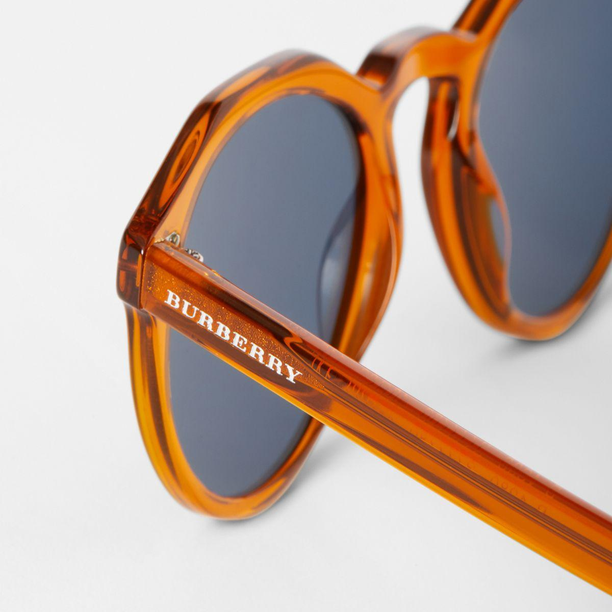 bd35b711a6a1 Burberry Keyhole Round Frame Sunglasses in Orange for Men - Lyst