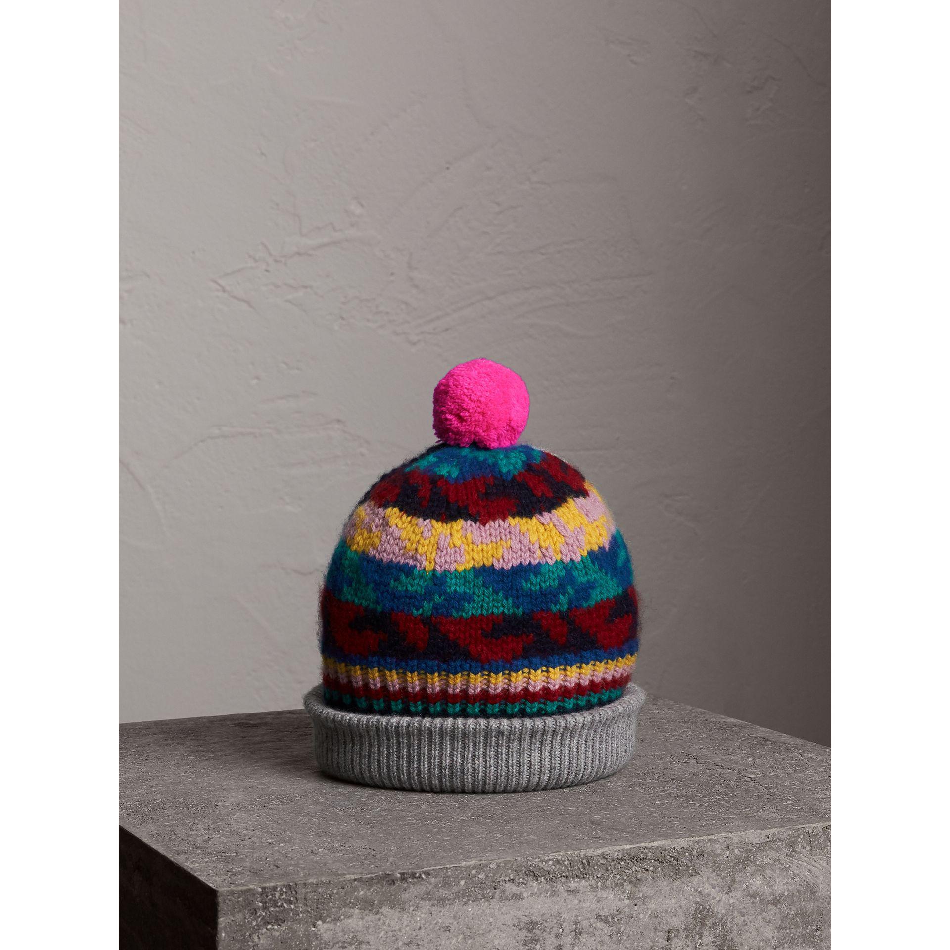 c322441e3 Burberry Multicolor Pom-pom Fair Isle Cashmere Wool Beanie