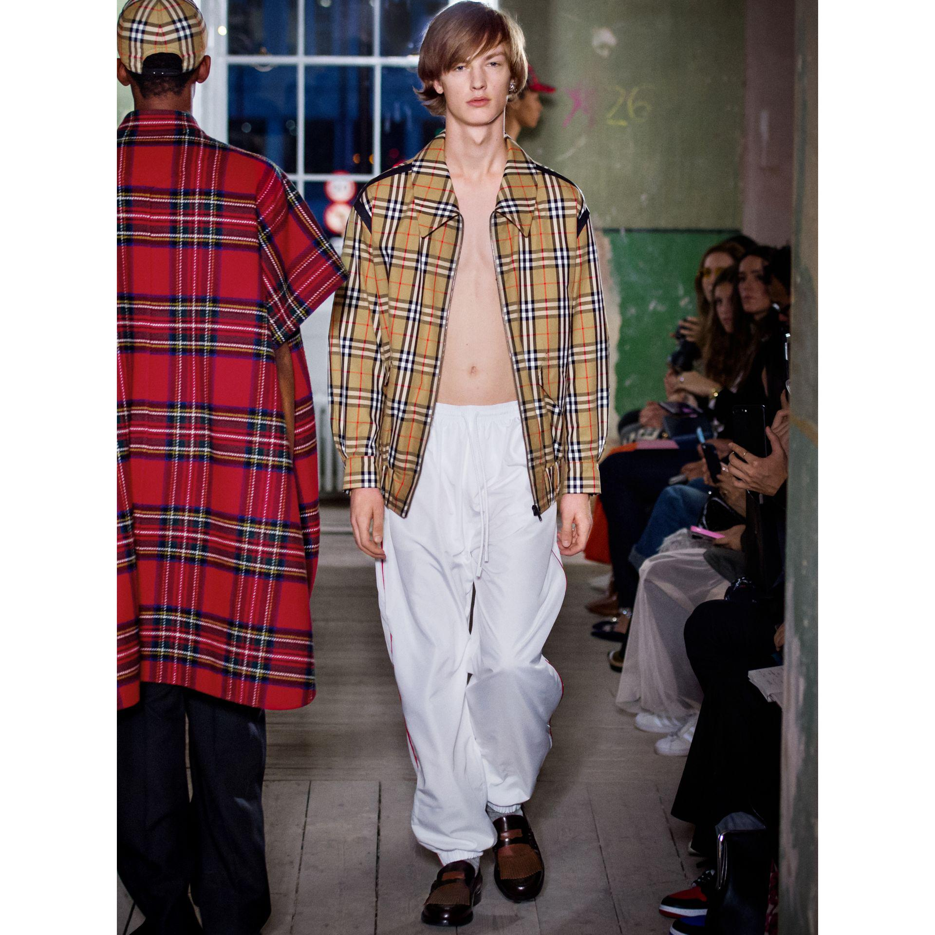Burberry Leather Poplin Track Pants With Contrast Piping in White for Men