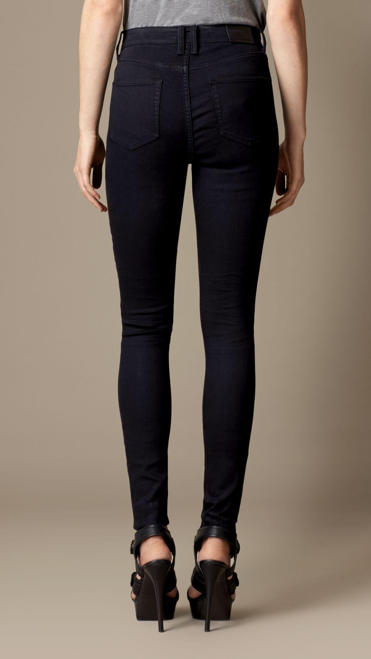 Burberry Denim Skinny Fit High-rise Deep Indigo Jeans in Dark Indigo (Blue)