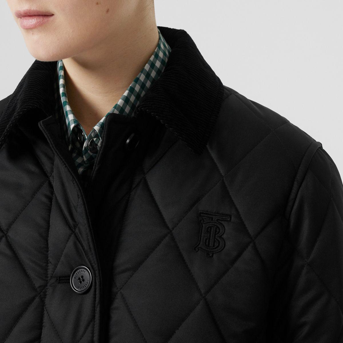Manteau matelassé Monogram avec capuche amovible Synthétique Burberry en coloris Noir T9GEH