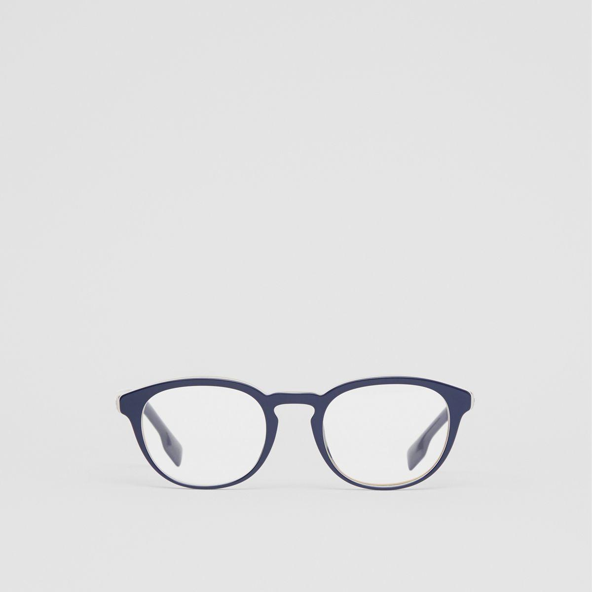 e6a52e15d03 Burberry Icon Stripe Detail Round Optical Frames in Blue for Men - Lyst