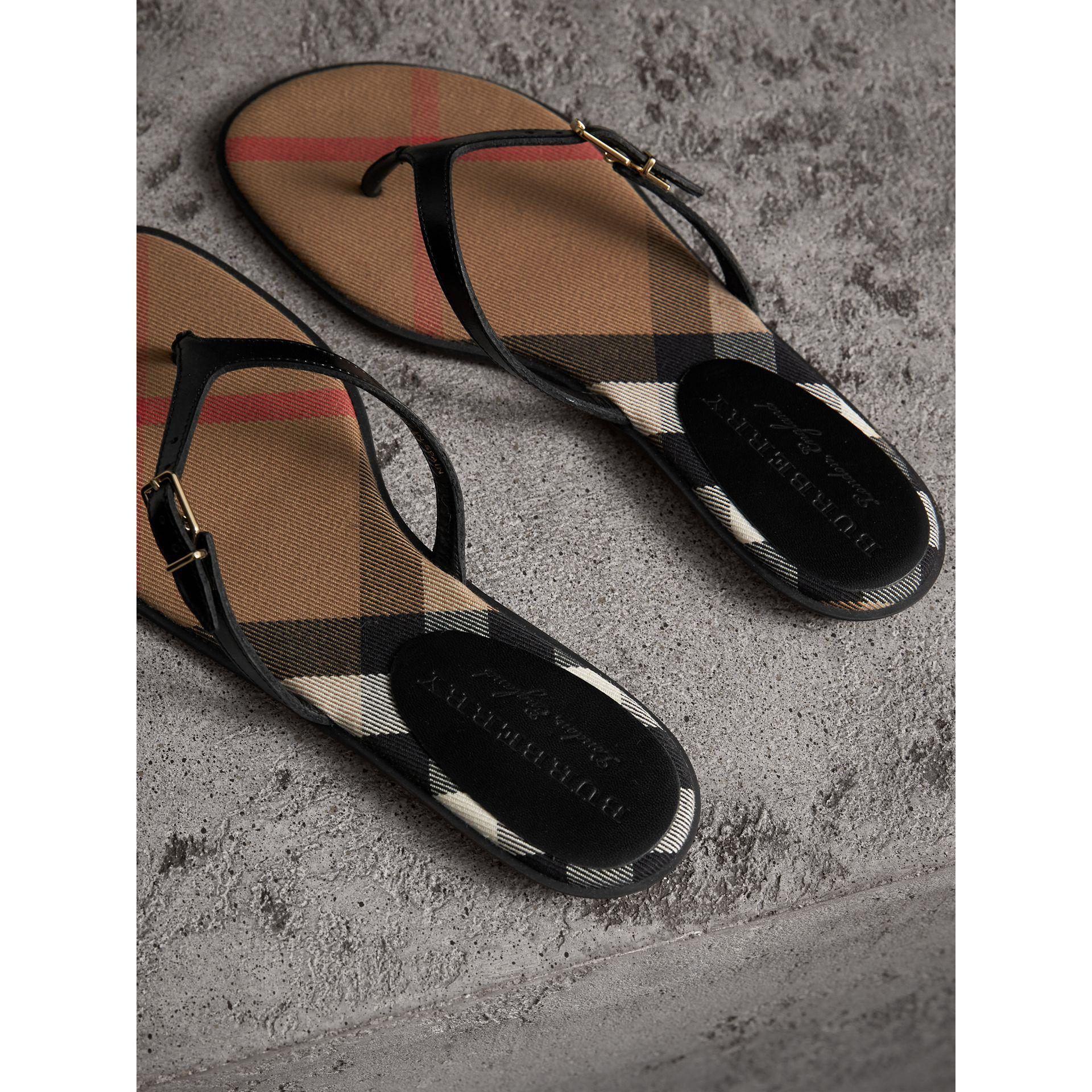6e4e26651ff5 Lyst - Burberry House Check And Patent Leather Sandals in Black