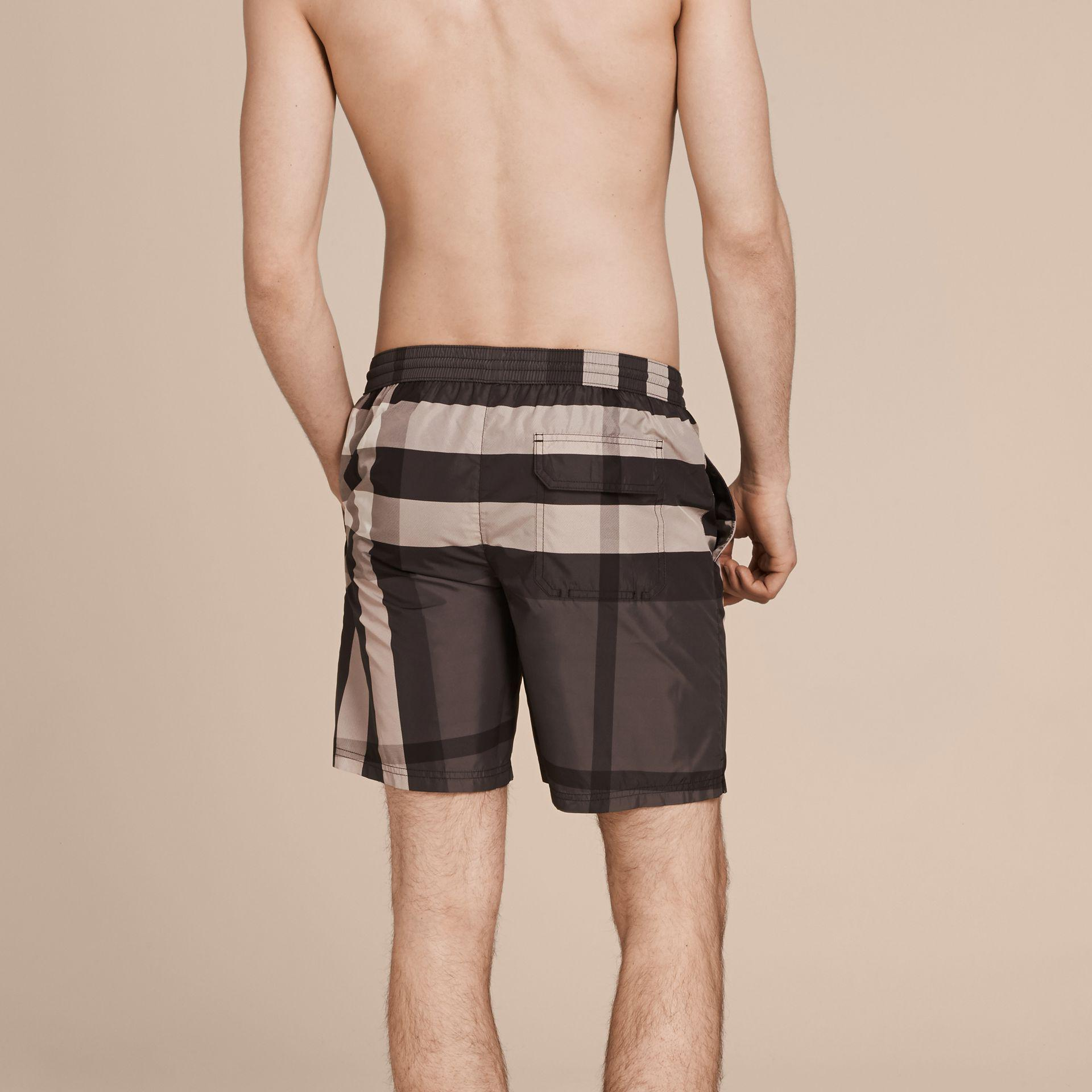 Lyst Burberry Check Swim Shorts Charcoal In Gray For Men