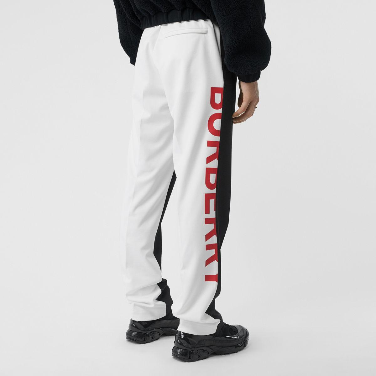 Pantalon en mohair et laine bicolore avec logo Laines Burberry pour homme en coloris Noir