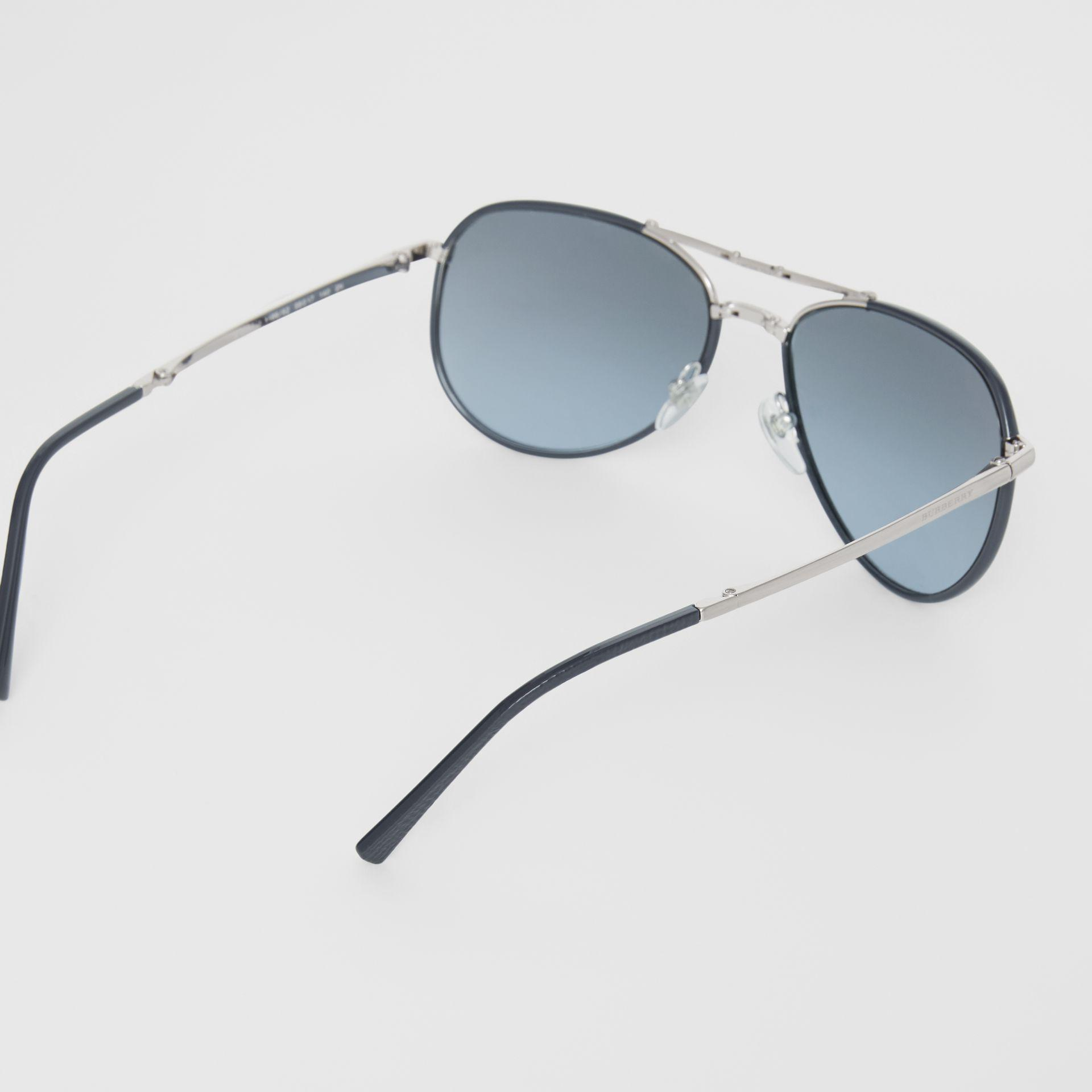 6a127039445 Burberry - Blue Folding Pilot Sunglasses for Men - Lyst. View fullscreen