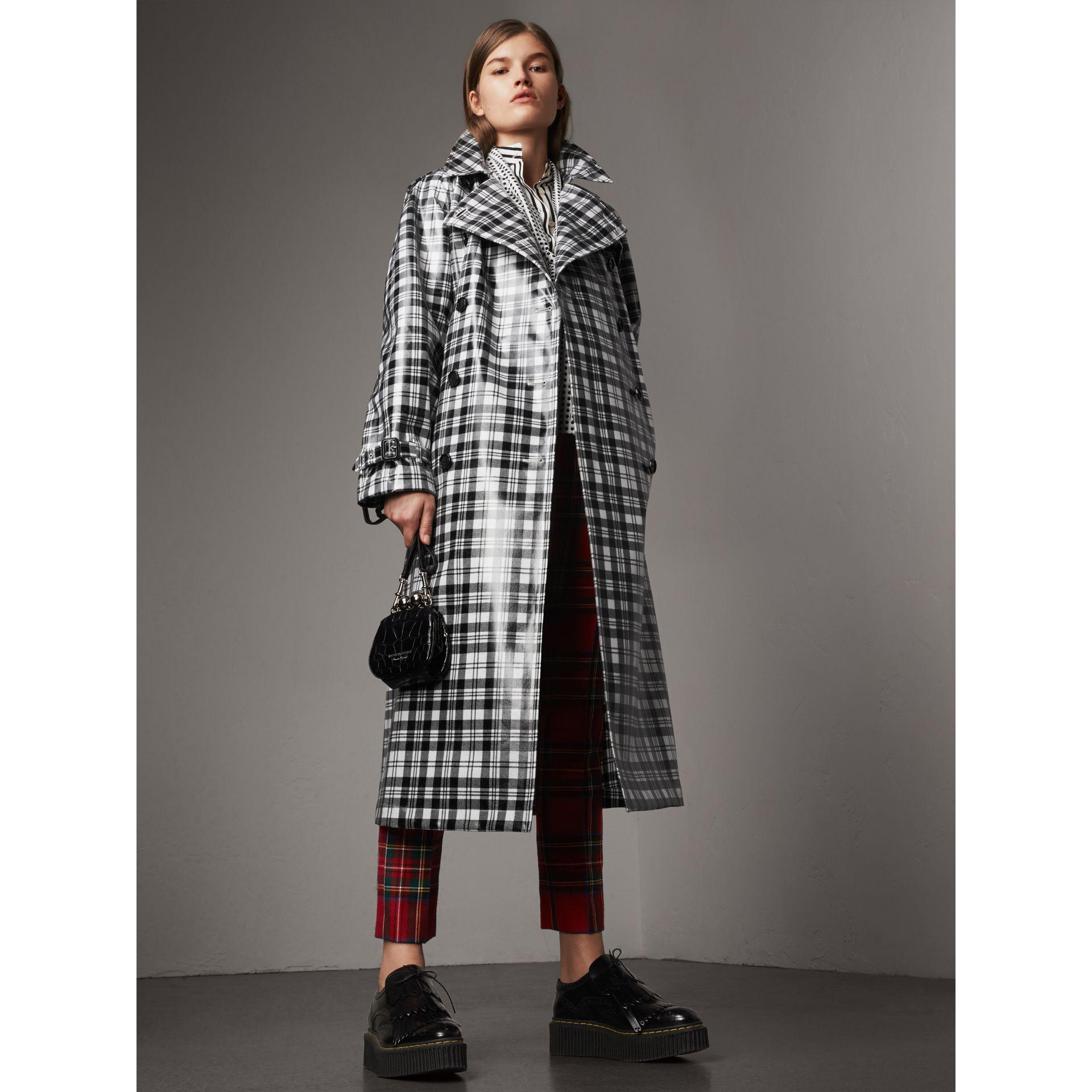 lyst burberry laminated tartan wool trench coat in black. Black Bedroom Furniture Sets. Home Design Ideas