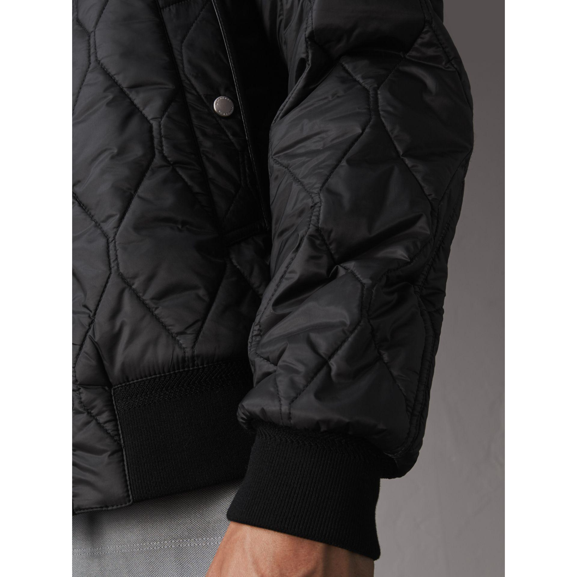 Burberry Leather Stand Collar Military Quilted Jacket With