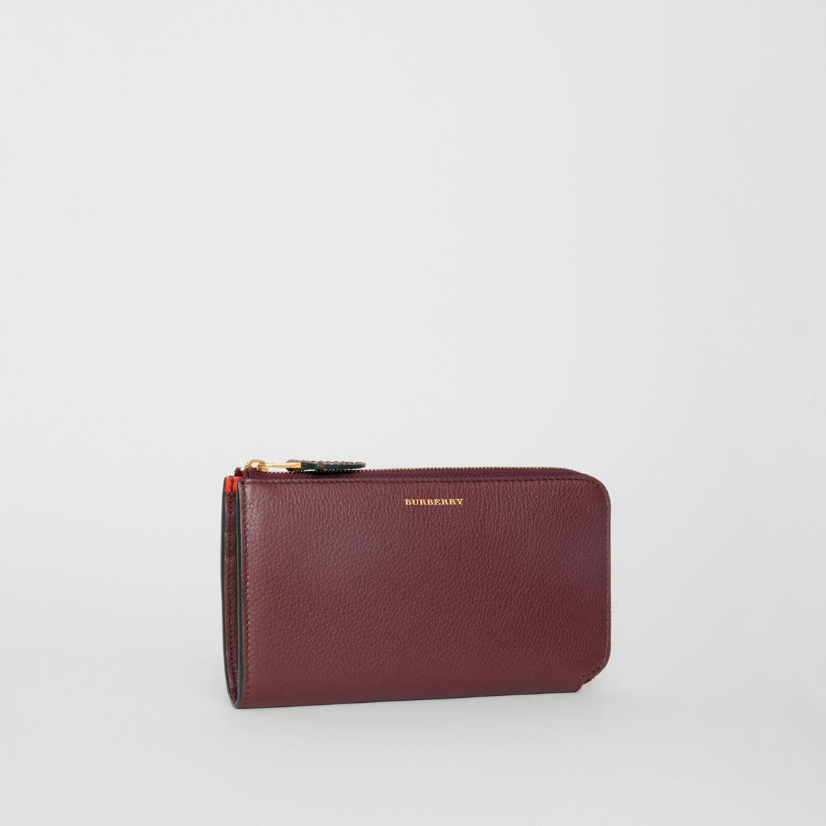 burberry two tone leather ziparound wallet and coin case
