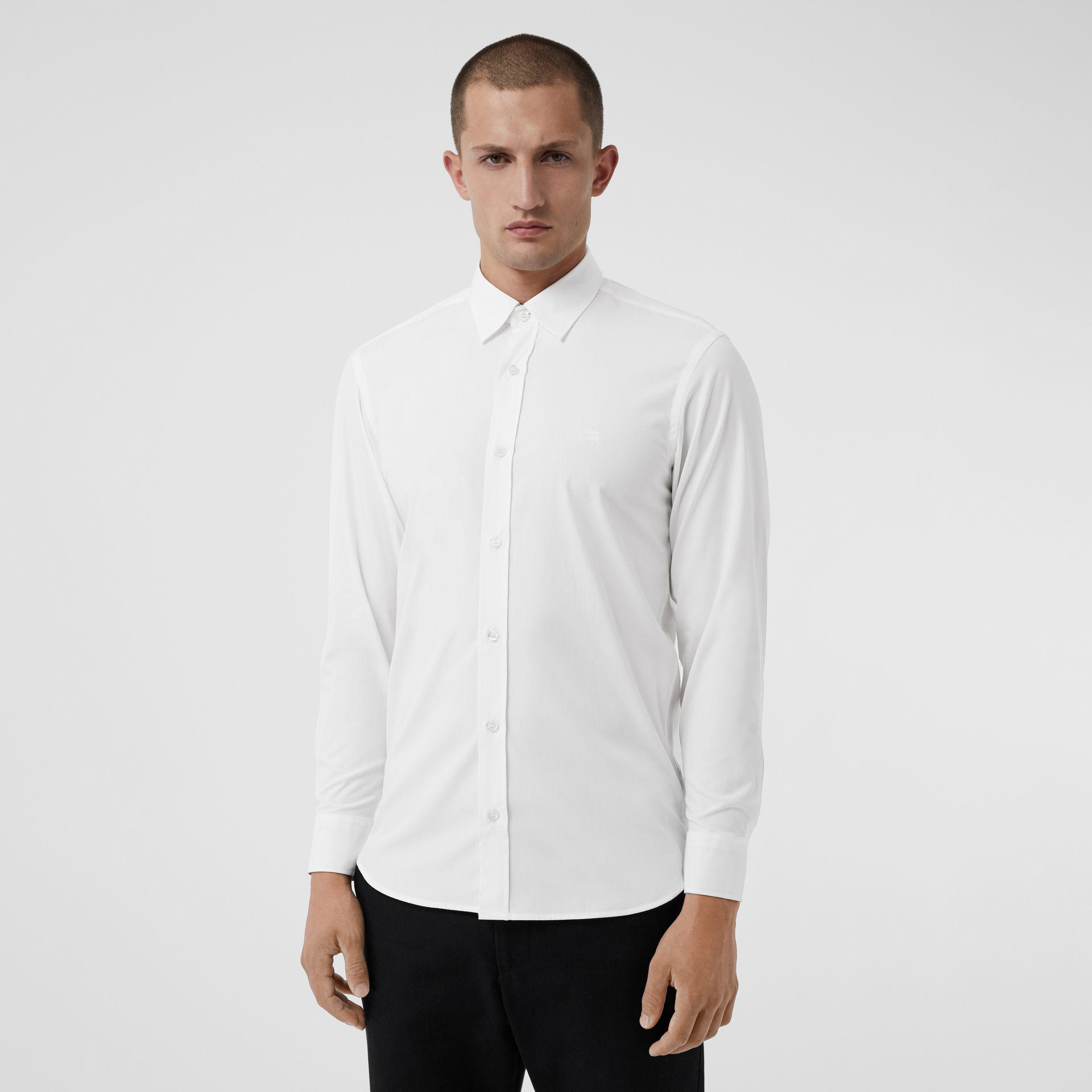 de Burberry de Camisa Blanco elástico de popelina algodón cuadros EwC86qC b0531afb106