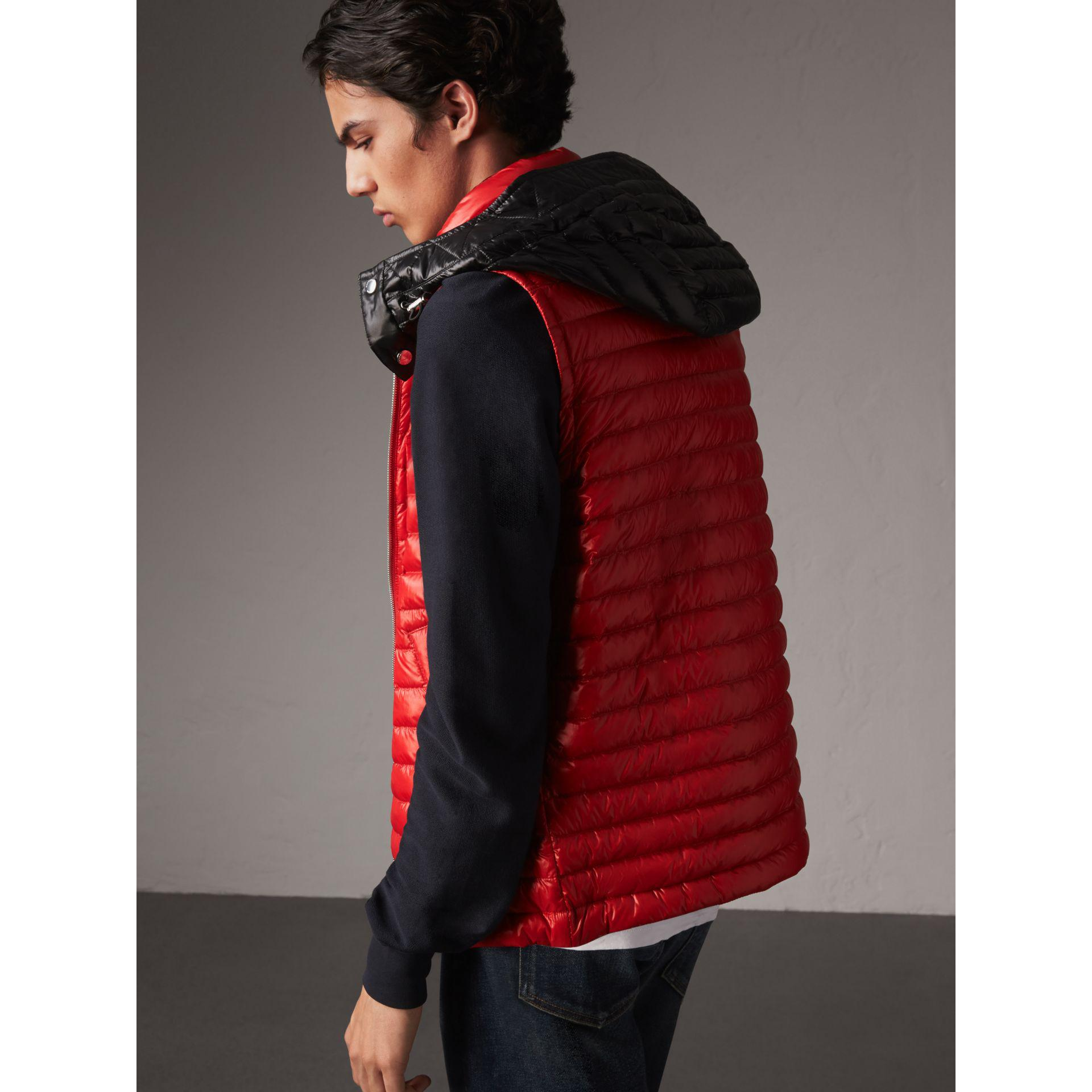 Burberry Detachable Hood Packaway Goose-down Gilet In Military Red | for Men