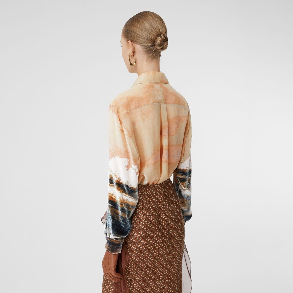 Chemise oversize en soie mélangée avec imprimé navire en Soie Burberry