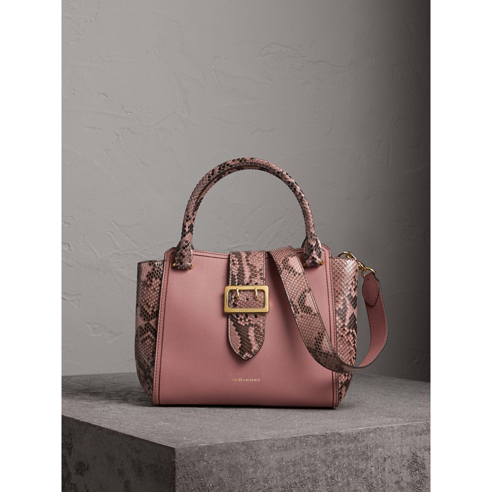 2ee7e419d09a Lyst - Burberry The Medium Buckle Tote In Grainy Leather And Python