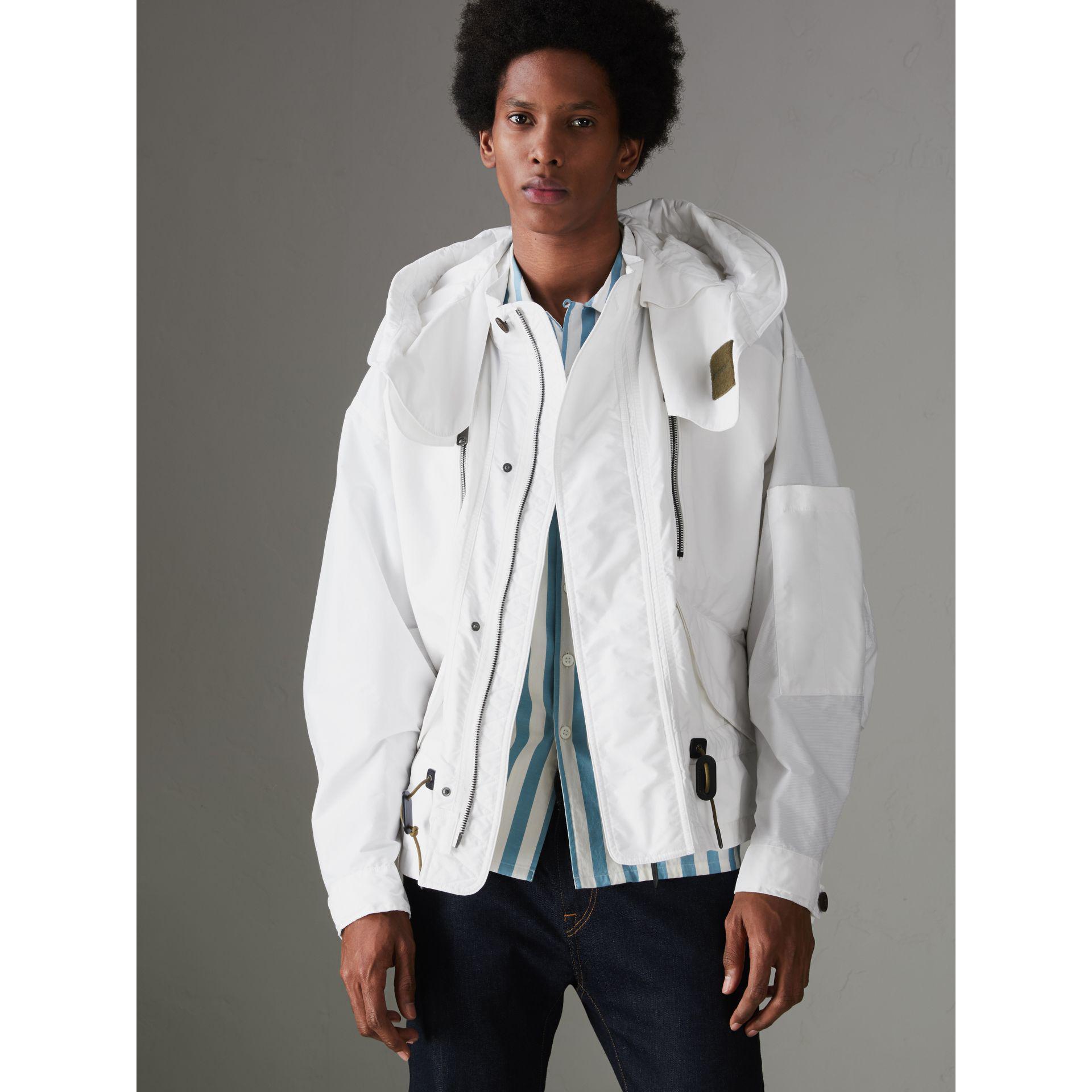 Burberry Cotton Detachable Hood Faille Jacket in White for Men