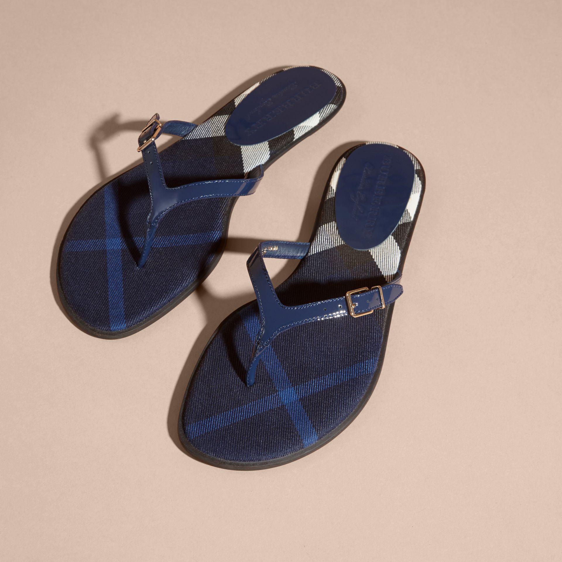 d51e704dd6de Lyst - Burberry House Check And Patent Leather Sandals Indigo Blue ...