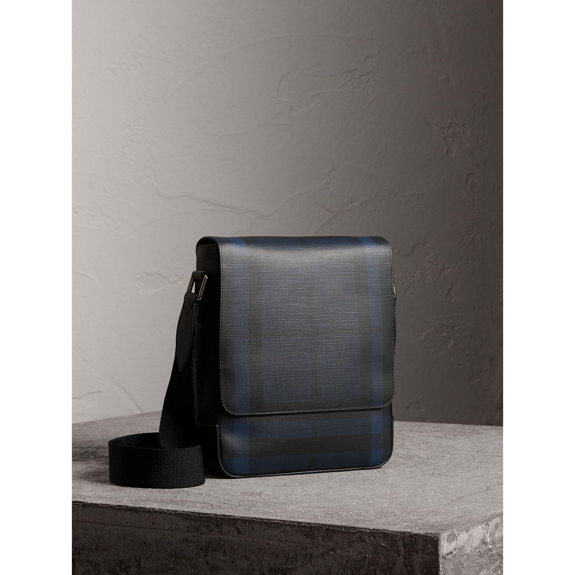 Burberry Canvas London Check Crossbody Bag Navy/black in Blue for Men