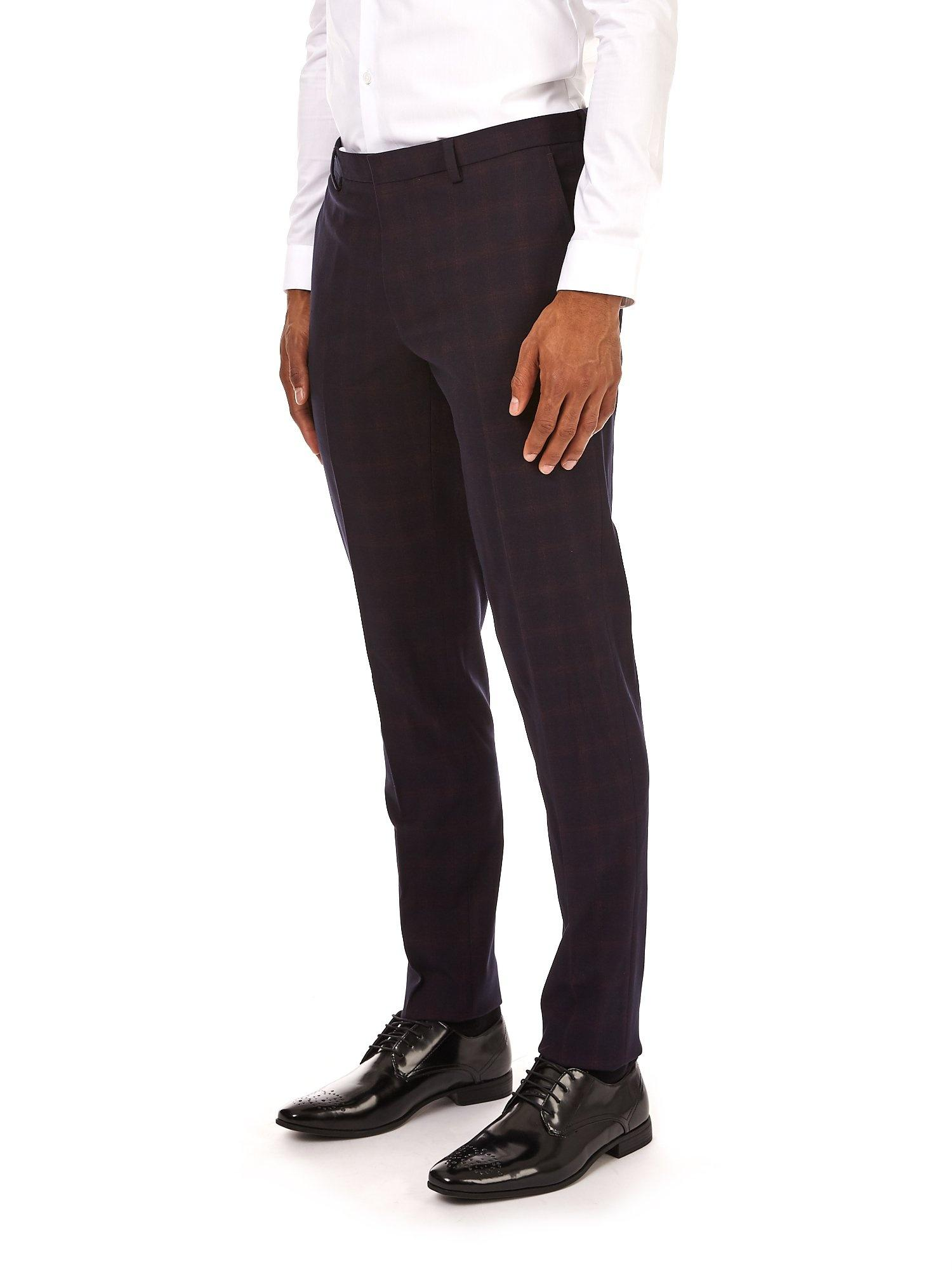 Burton Synthetic Electric Navy And Pink Check Skinny Fit Trousers in Blue for Men