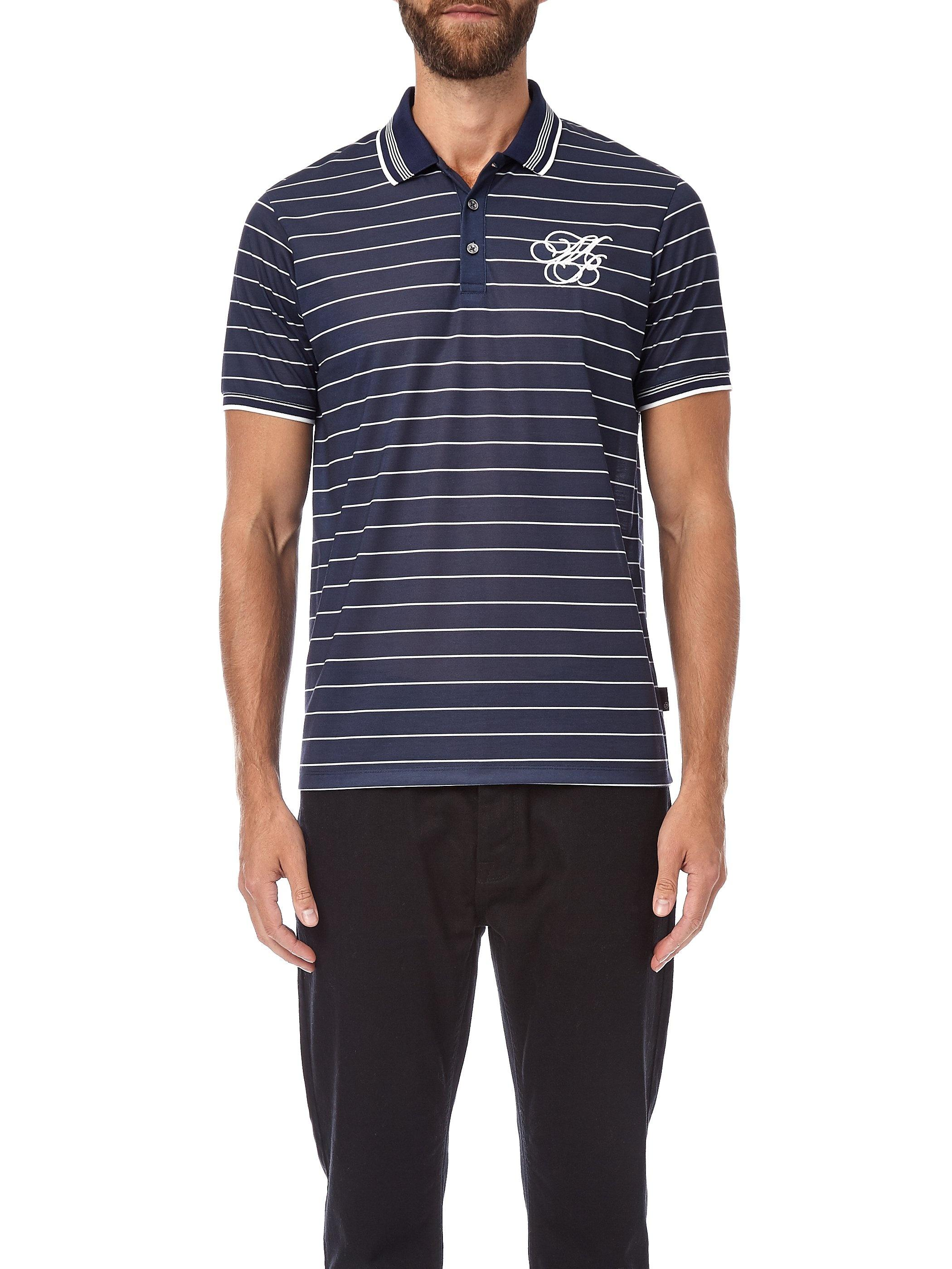 ccc51a2e Burton Navy And Ecru Striped Mb Embroidery Polo Shirt in Blue for Men - Lyst