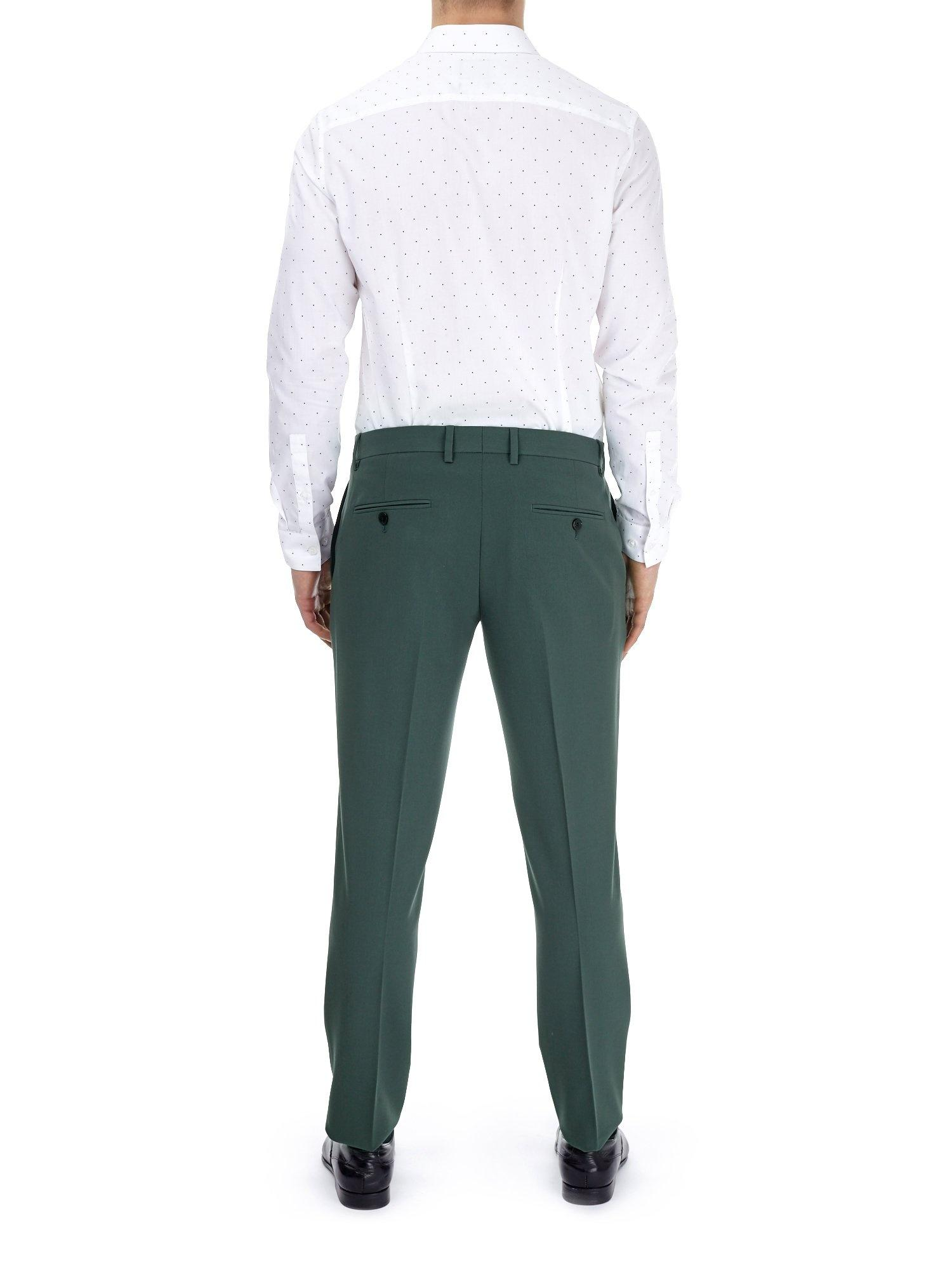 Burton Synthetic Khaki Essential Skinny Fit Suit Trousers With Stretch in Green for Men