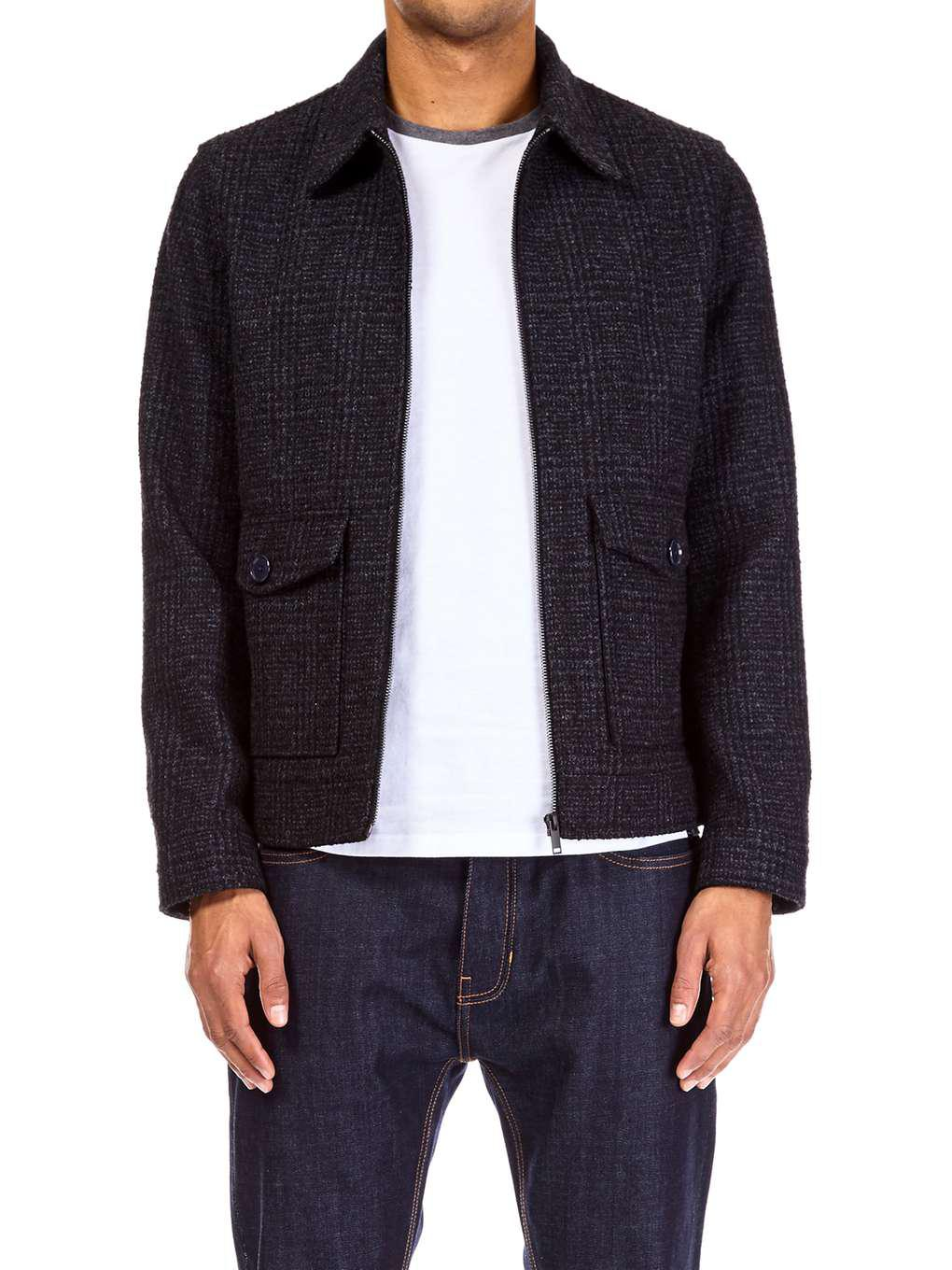 Burton Wool Grey Prince Of Wales Harrington Jacket in Grey for Men