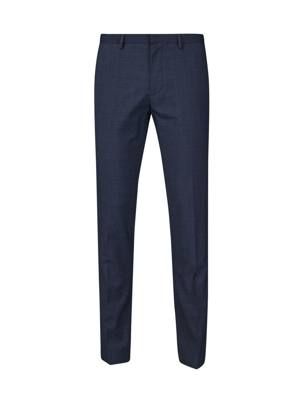 Burton Synthetic Navy Skinny Fit Check Smart Trousers in Blue for Men