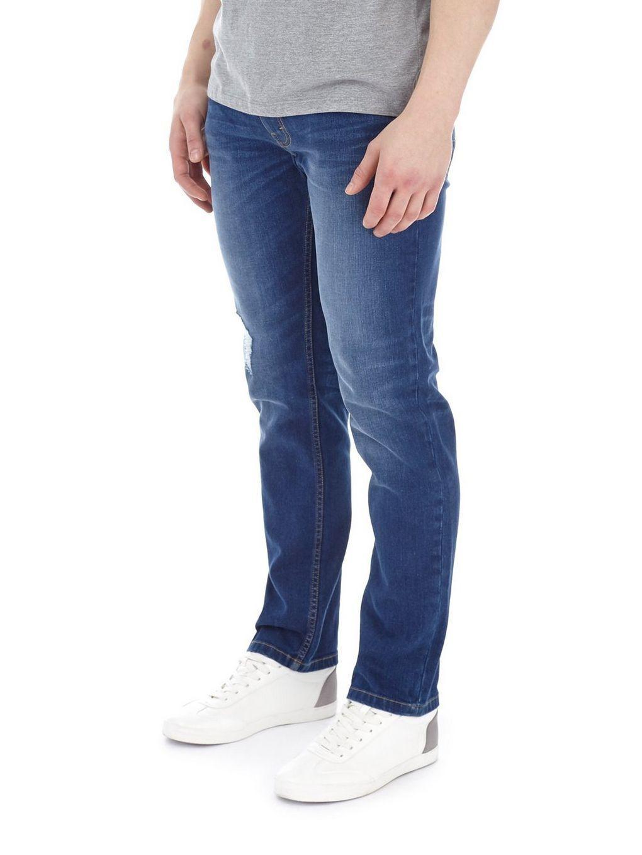 Burton Denim Bright Blue Blake Ripped Slim Fit Jeans for Men