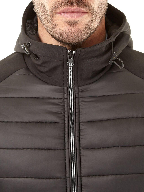 Burton Black Hooded Padded Jacket With Neoprene Sleeves for Men